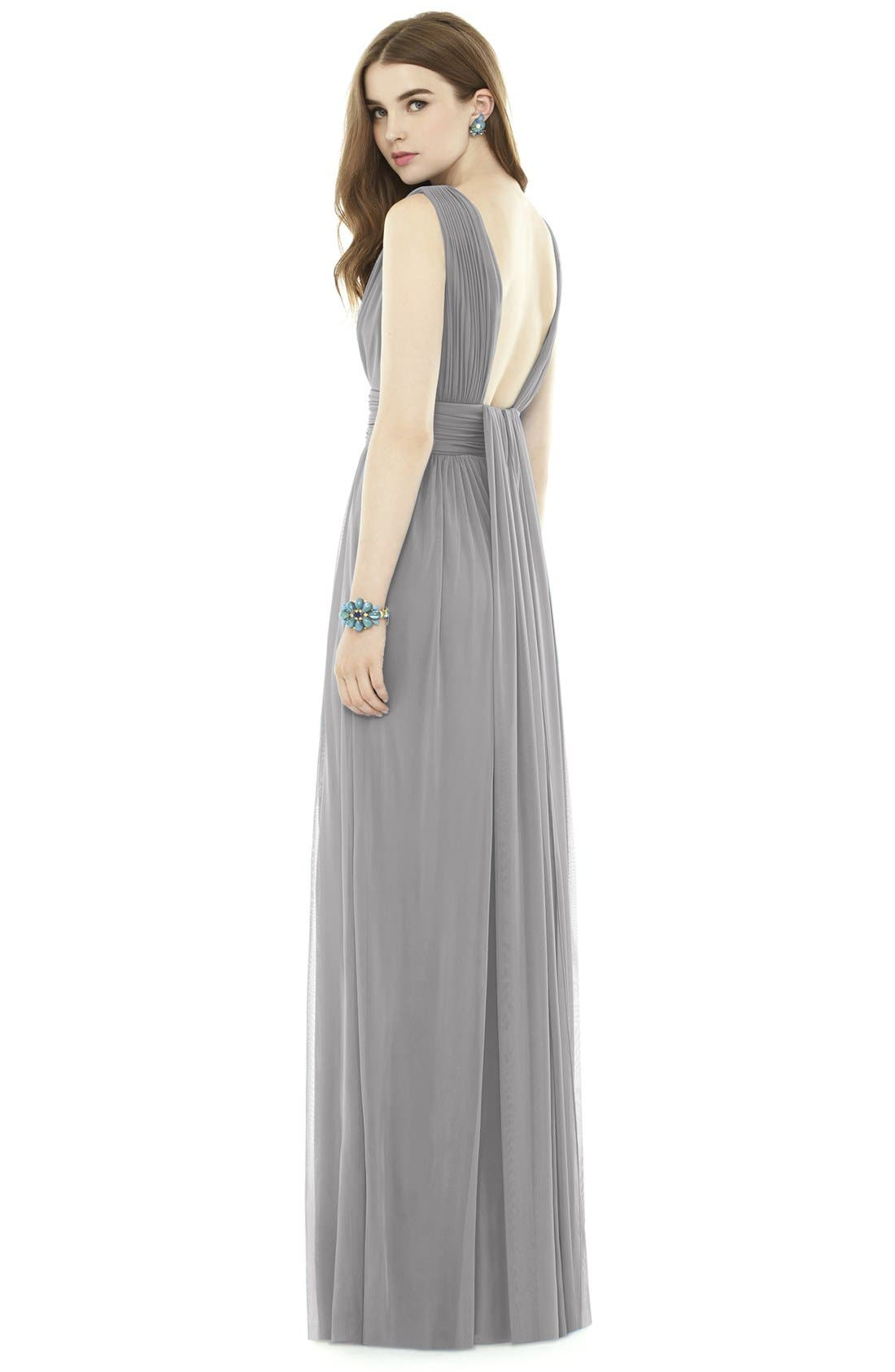 Alternate Image 2  - Alfred Sung V-Neck Pleat Chiffon Knit A-Line Gown
