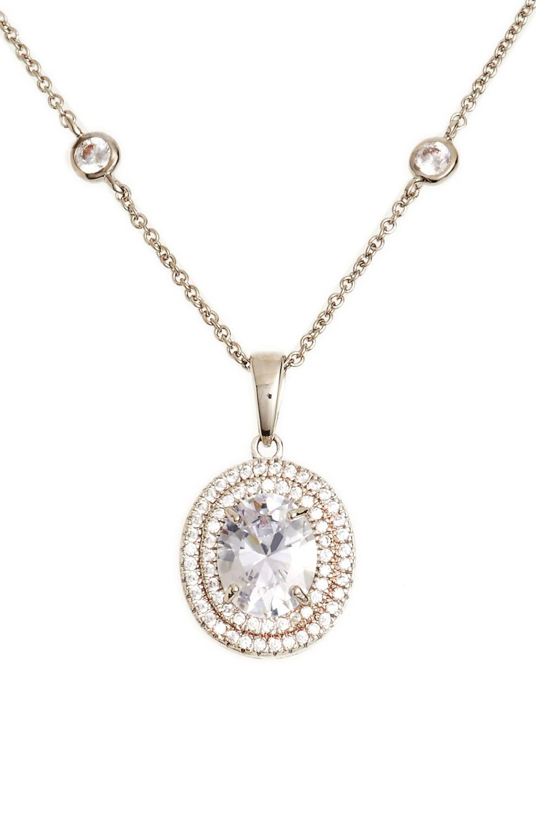 Main Image - Nina Double Halo Pendant Necklace