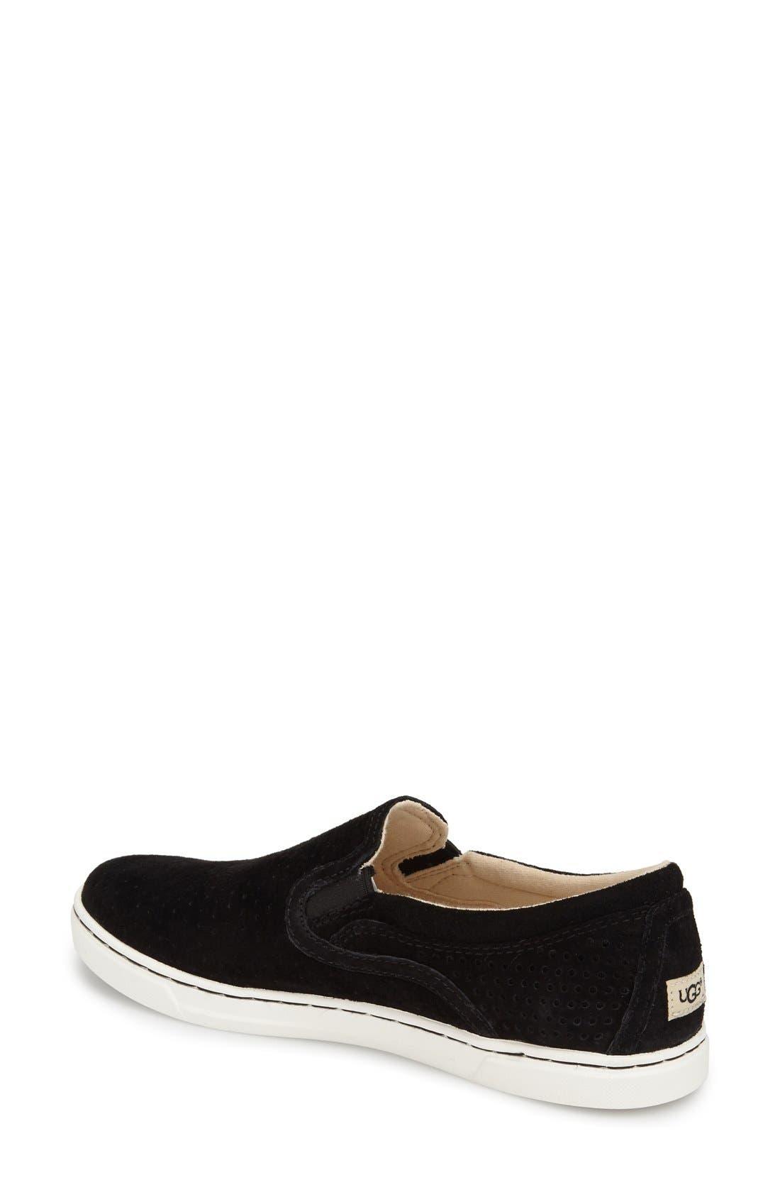 'Fierce Geo' Perforated Slip-On Sneaker,                             Alternate thumbnail 2, color,                             Black Suede