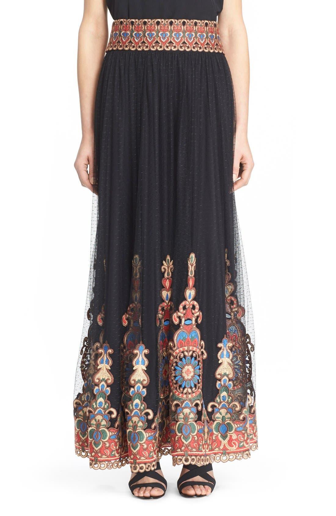Main Image - Alice + Olivia 'Savanna' Embroidered Maxi Skirt