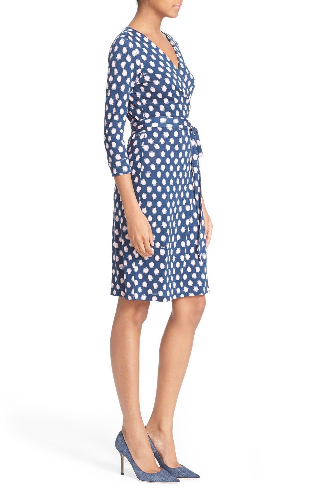 'New Julian Two' Polka Dot Silk Wrap Dress,                             Alternate thumbnail 3, color,                             Dotted Batik Indigo