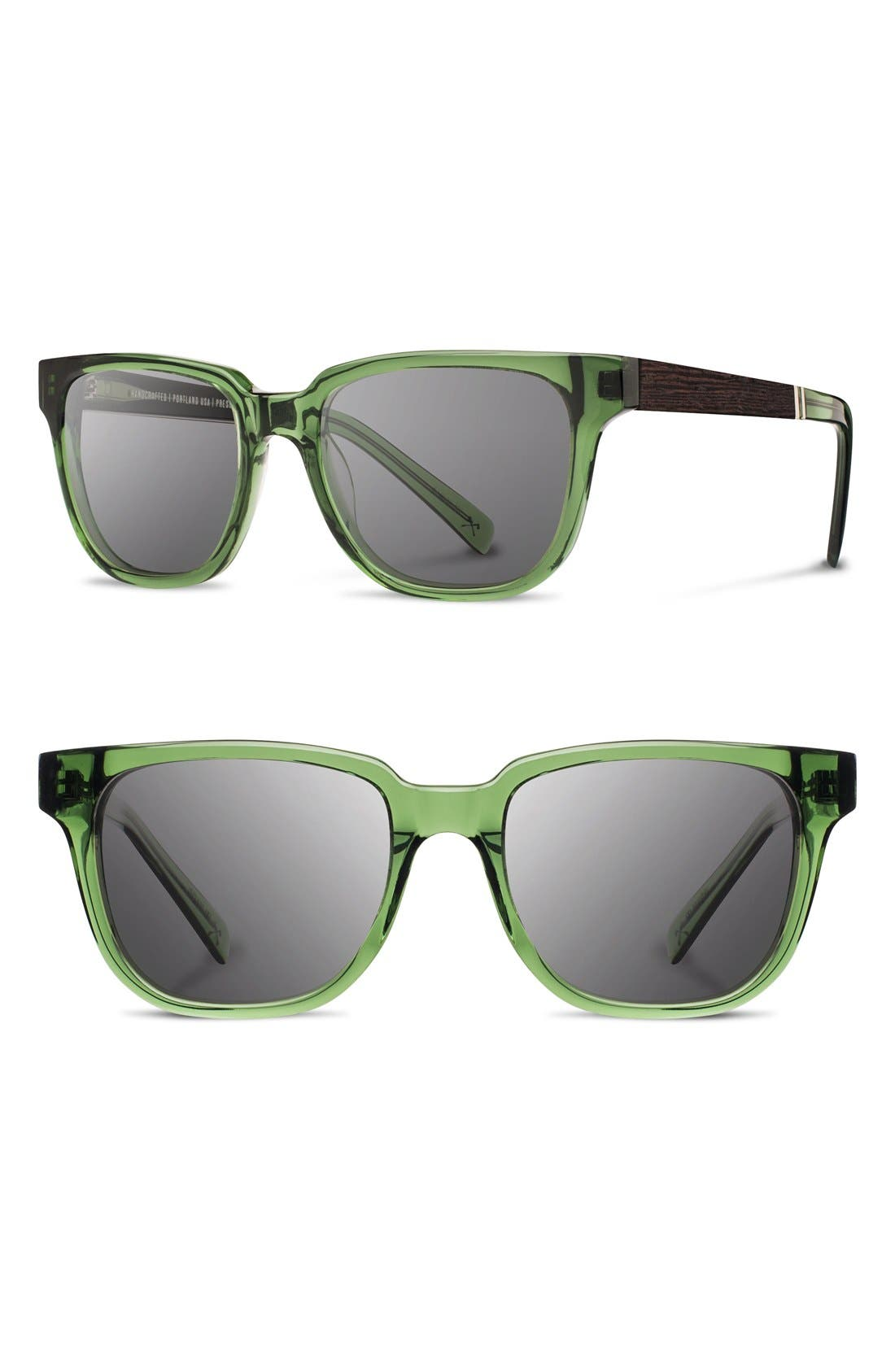 'Prescott' 52mm Acetate & Wood Sunglasses,                             Main thumbnail 1, color,                             Emerald/ Ebony/ Grey