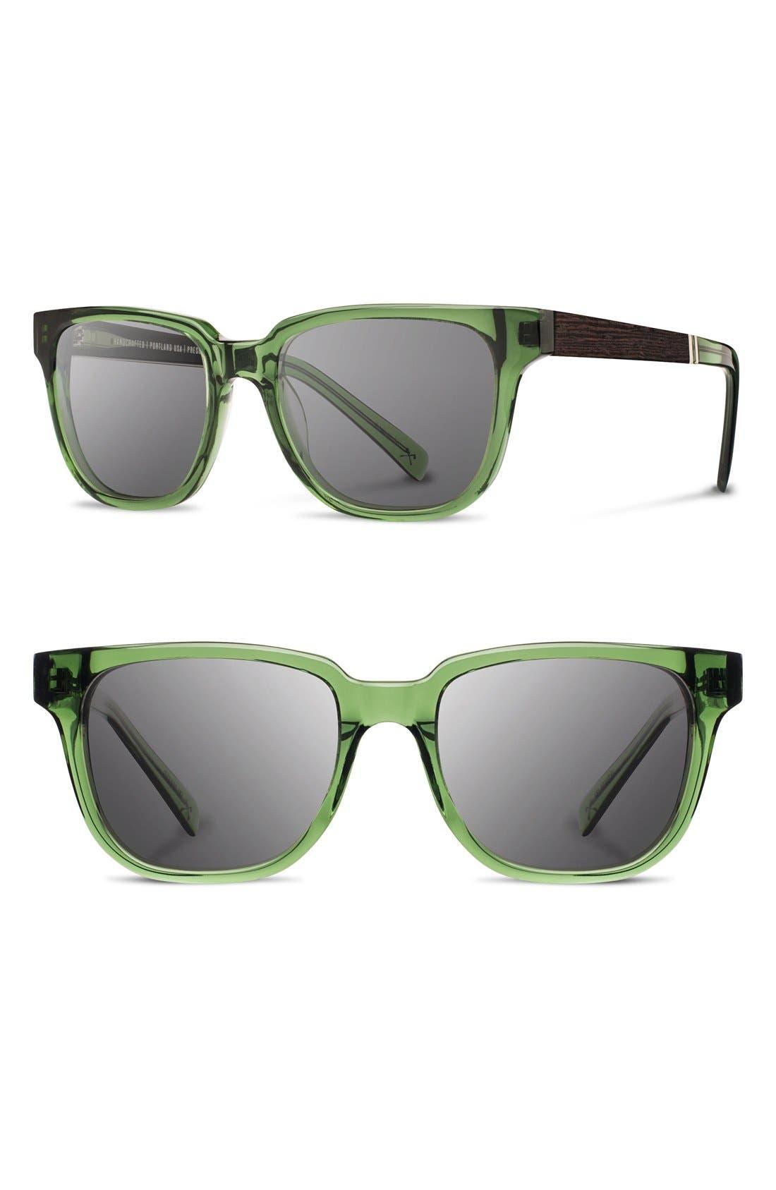 'Prescott' 52mm Acetate & Wood Sunglasses,                         Main,                         color, Emerald/ Ebony/ Grey