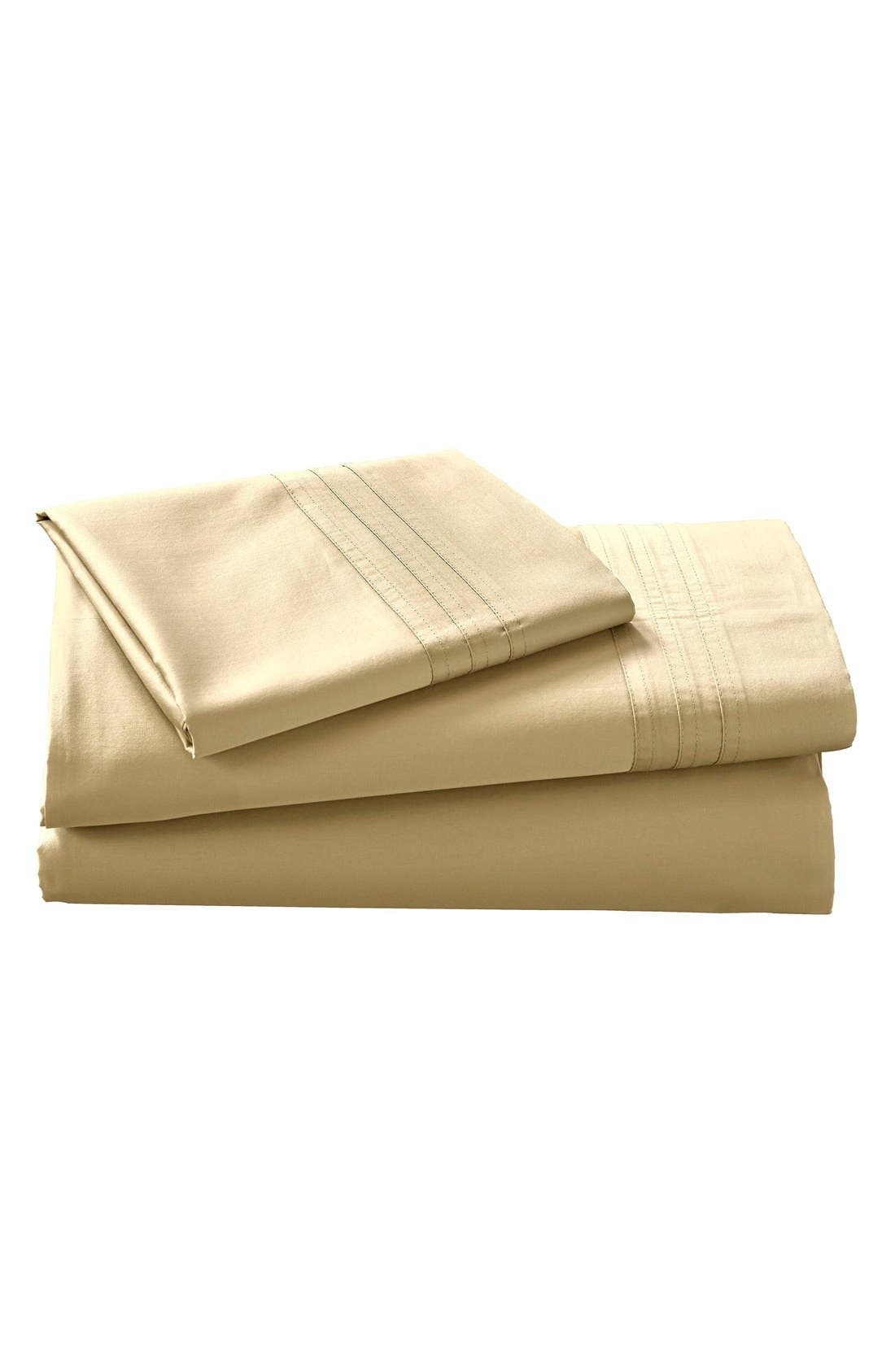 Donna Karan Collection 510 Thread Count Fitted Sheet,                         Main,                         color, Gold Dust