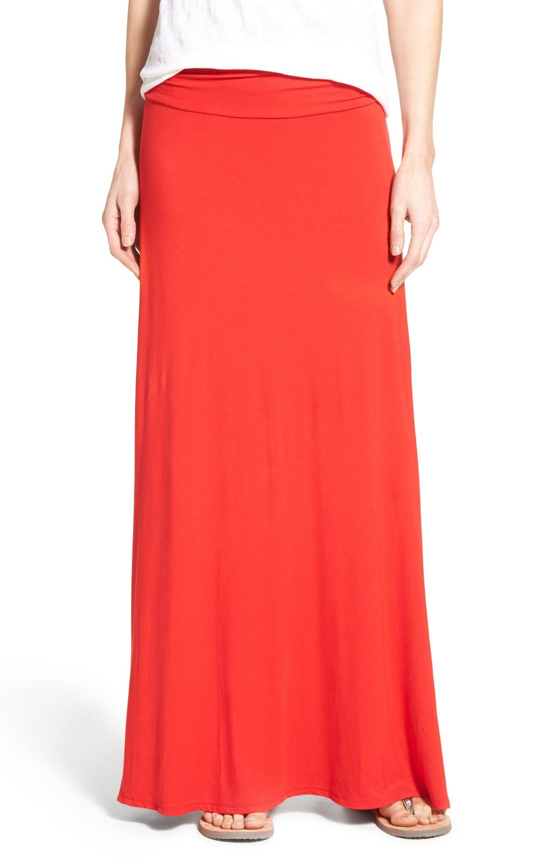 BOBEAU Ruched Waist Side Slit Maxi Skirt