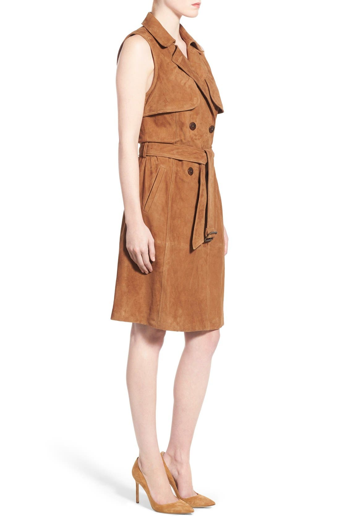 Alternate Image 3  - Olivia Palermo + Chelsea28 Sleeveless Suede Trench Dress