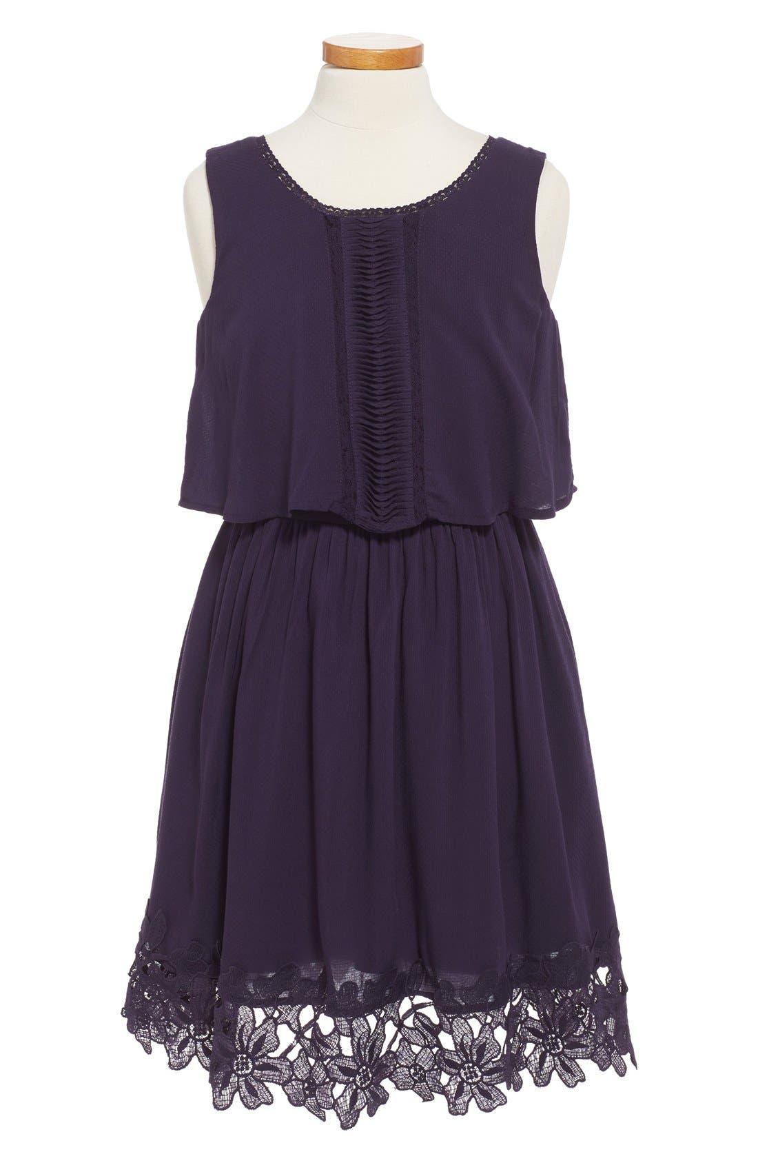 'Kali' Sleeveless Popover Dress,                         Main,                         color, Navy