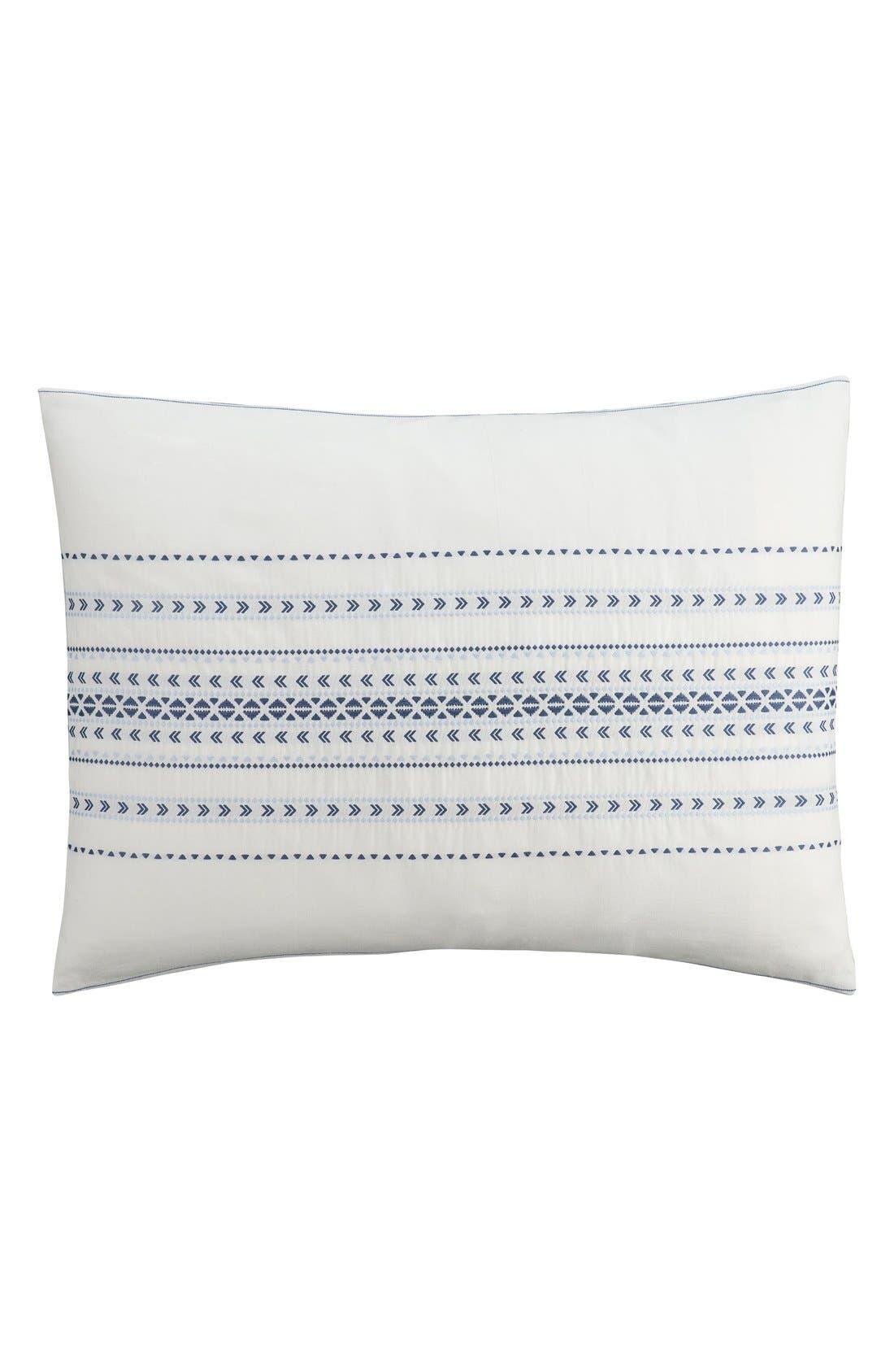 'Indigo Stripe' Sham,                         Main,                         color, White/ Blue