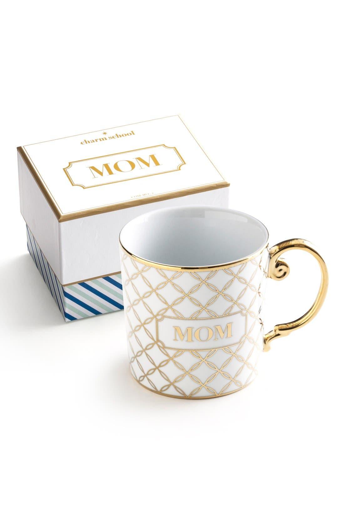 'Mom' Porcelain Coffee Mug,                         Main,                         color, White/ Gold