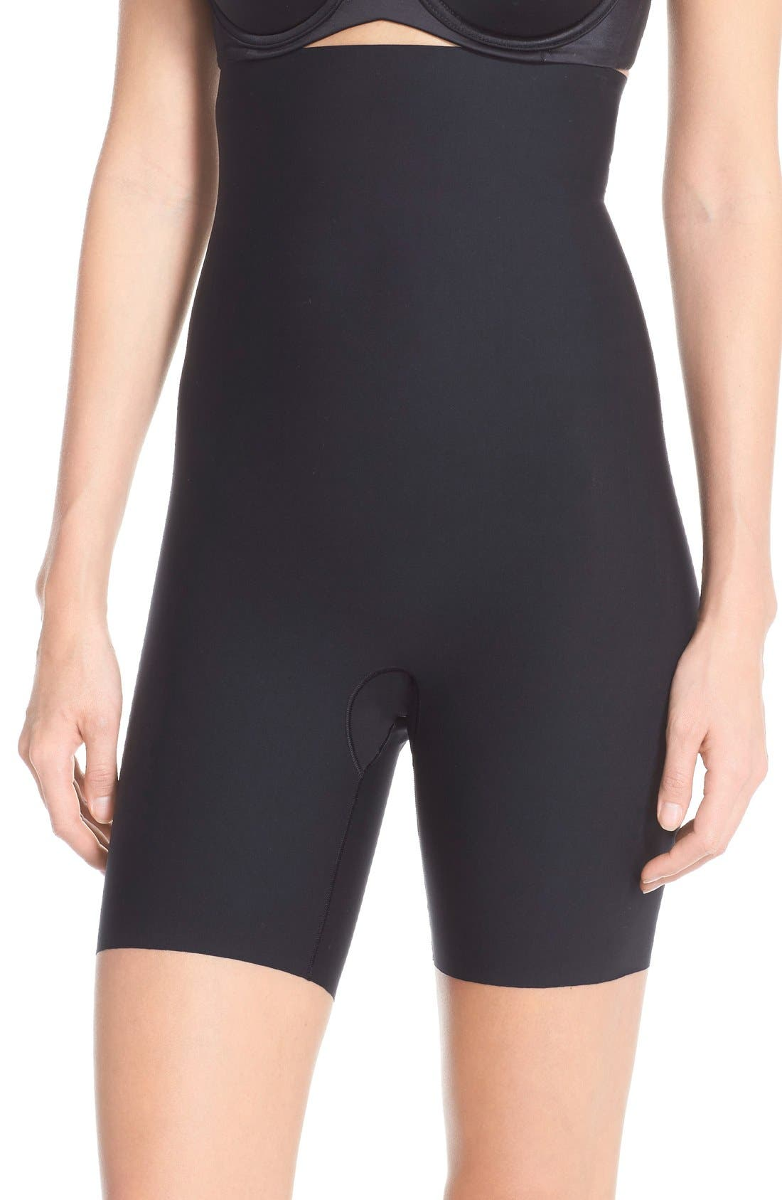 Thinstincts Mid Thigh Shorts,                             Main thumbnail 1, color,                             Very Black