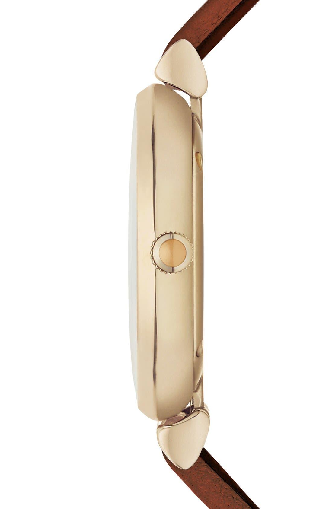 Alternate Image 3  - Emporio Armani Leather Strap Watch, 32mm