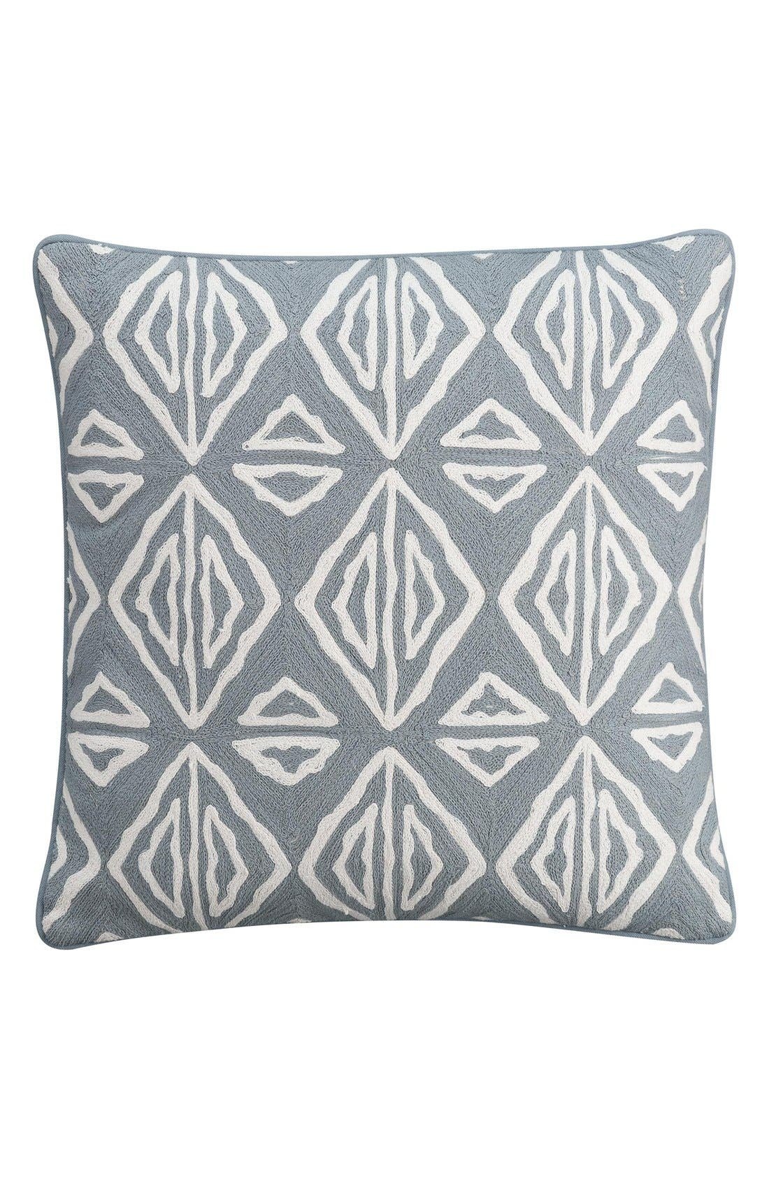 'Moroccan Geo' Crewel Embroidered Pillow,                             Main thumbnail 1, color,                             Grey