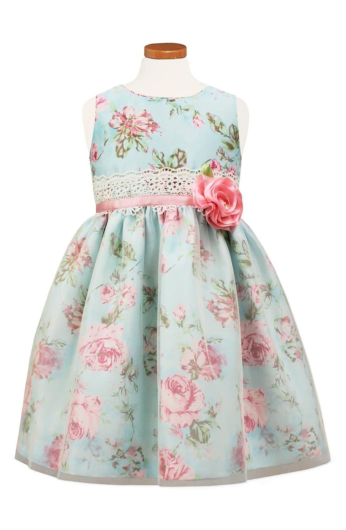 Floral Print Shantung Dress,                         Main,                         color, Blue