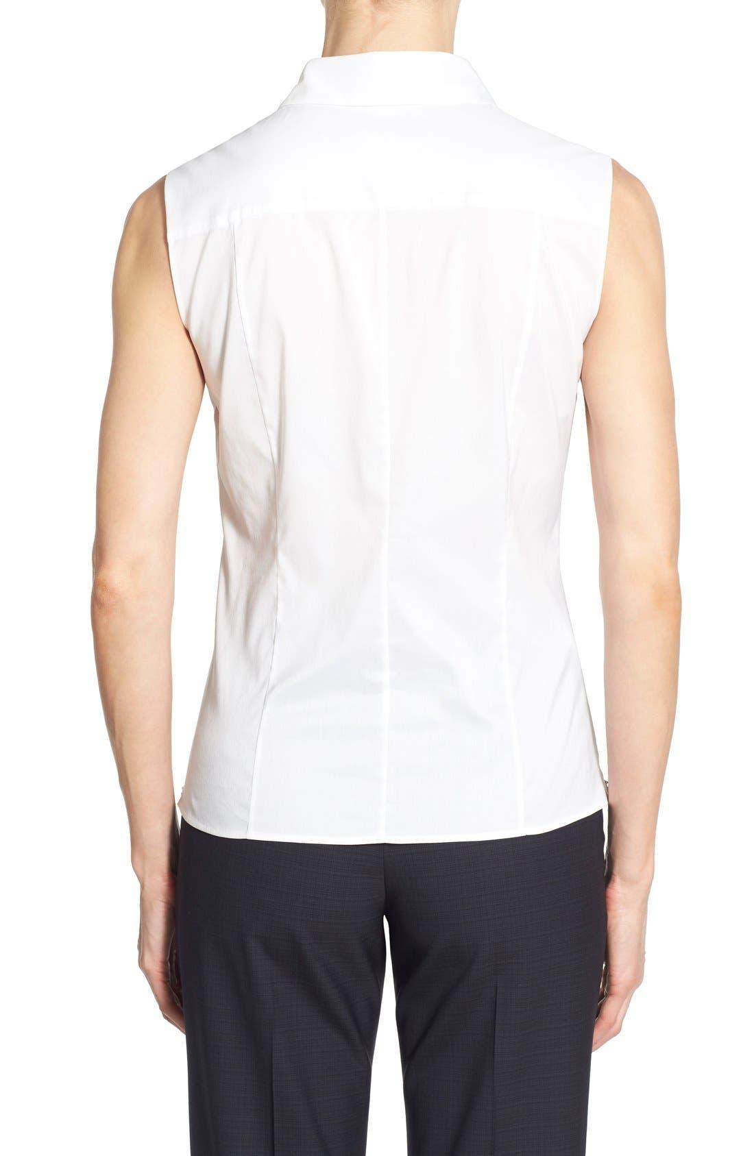 Alternate Image 2  - BOSS 'Bashiva' Sleeveless Poplin Shirt (Regular & Petite)