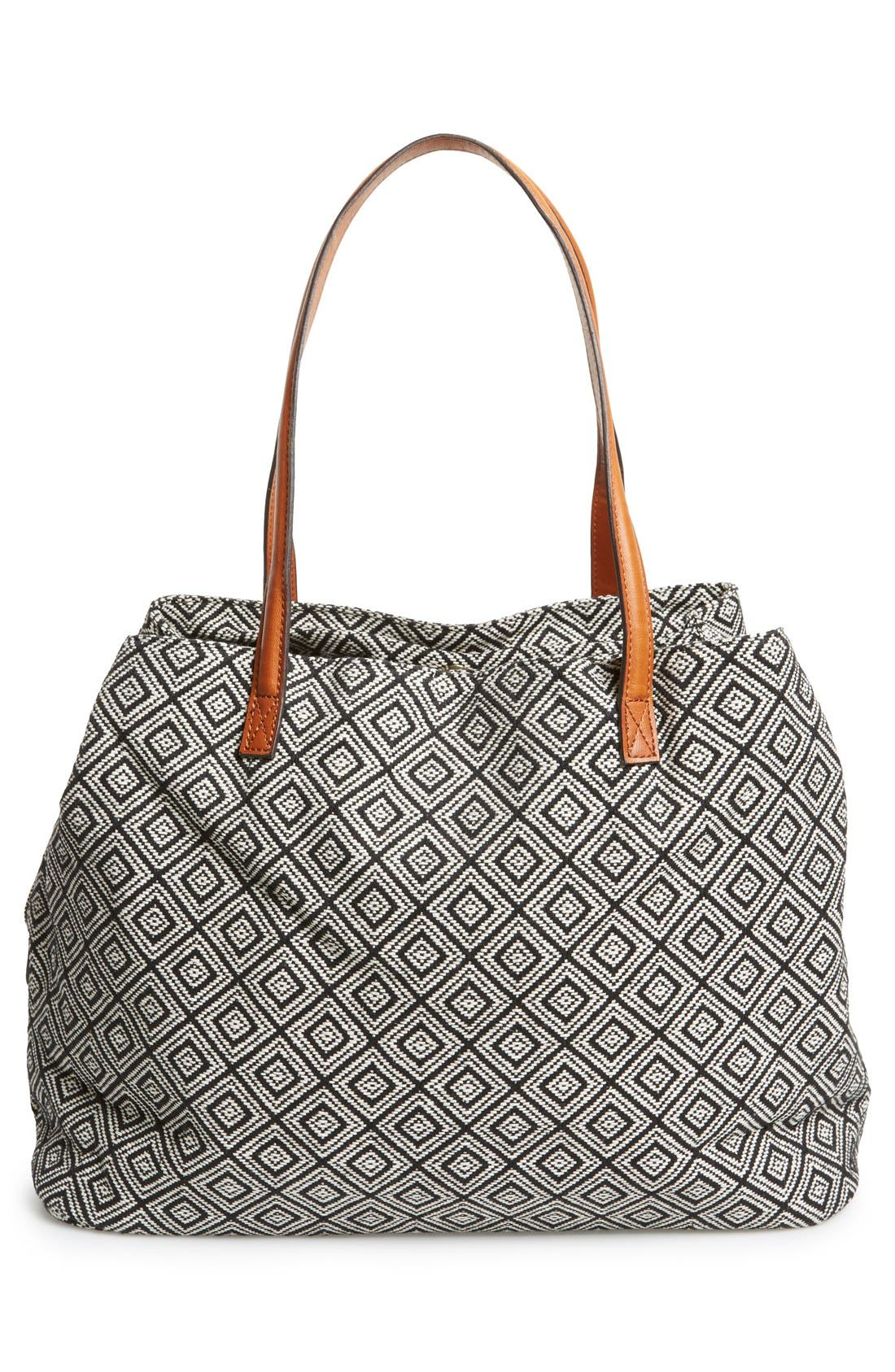'Oversize Millie' Tote,                             Alternate thumbnail 3, color,                             Black White Geo