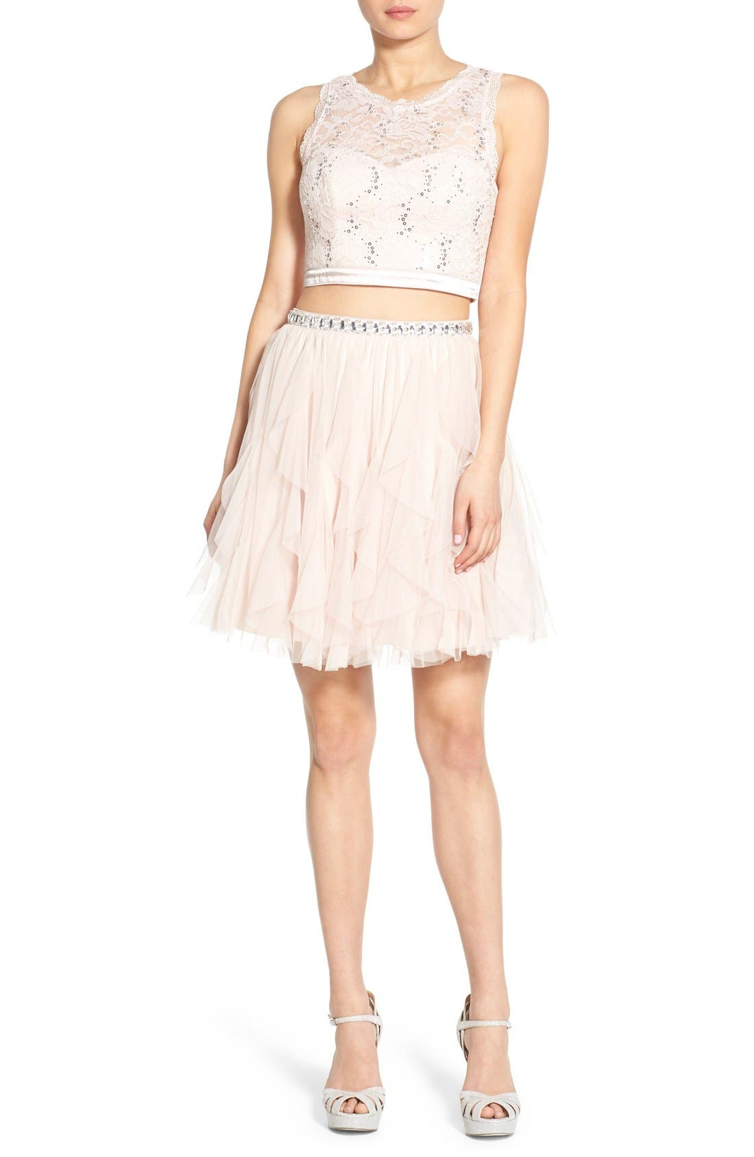 Alternate Image 1 Selected - Sequin Hearts Lace Two-Piece Dress