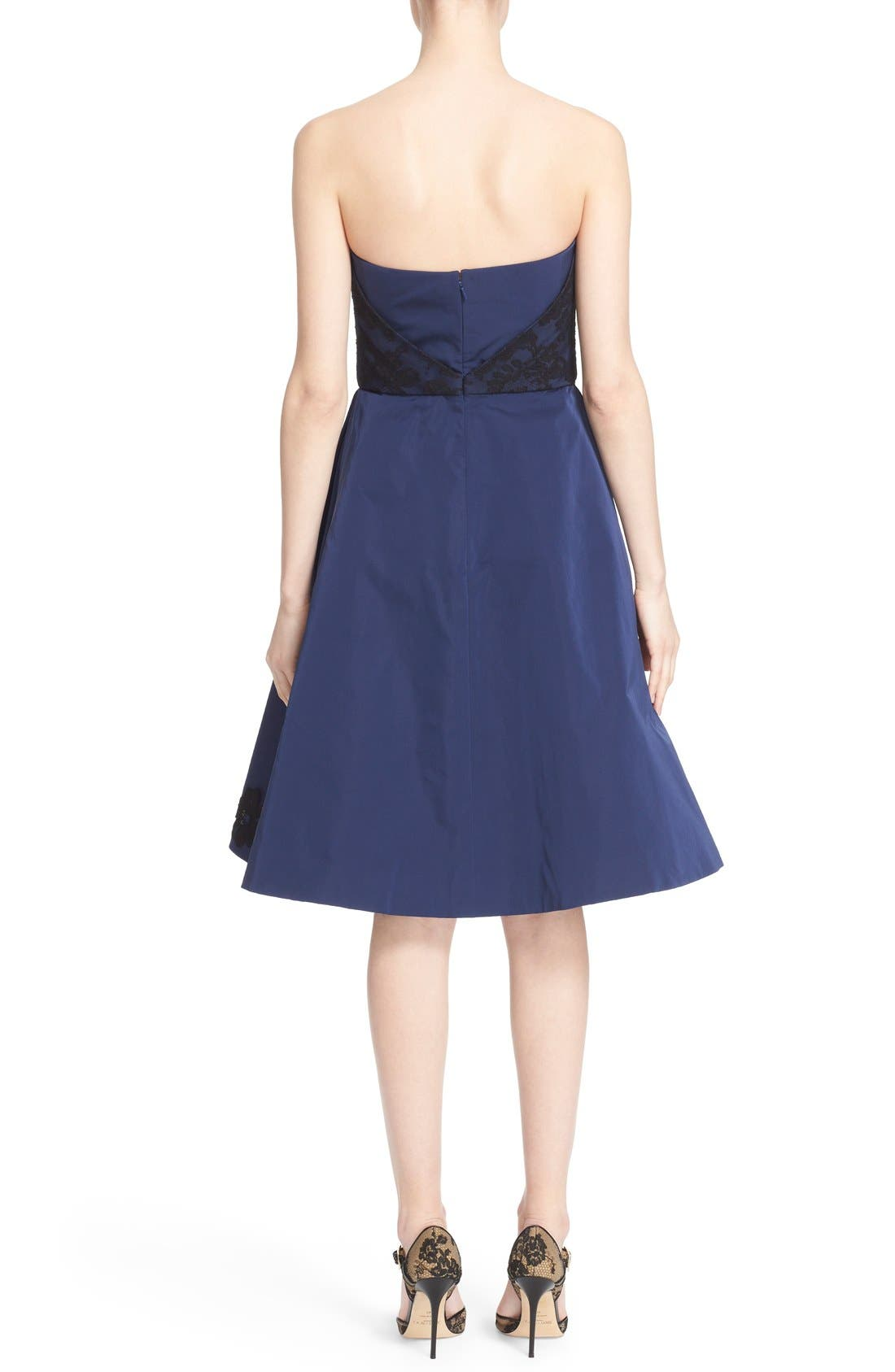 Alternate Image 2  - Oscar de la Renta Floral Embellished Strapless Fit & Flare Dress