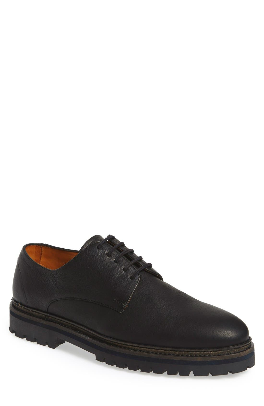 'Langdon' Derby,                         Main,                         color, Black Tumbled Leather