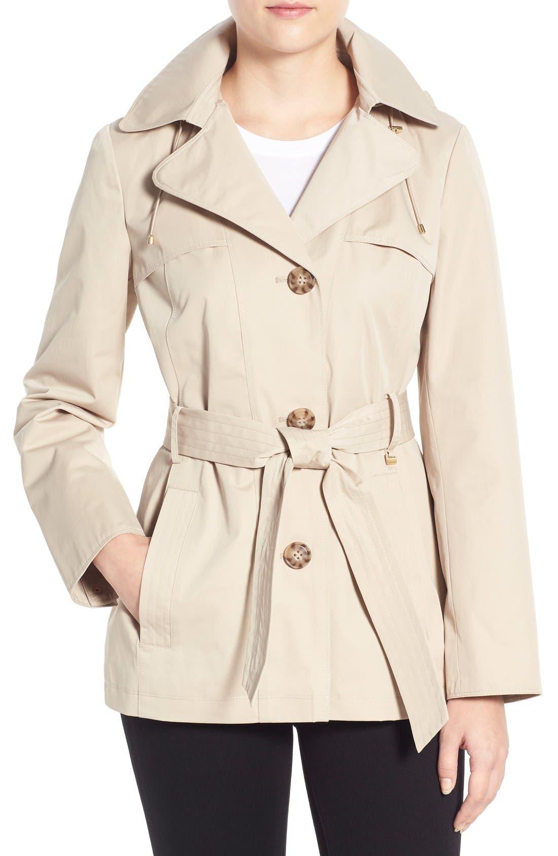 Cotton Blend Short Trench Coat,                             Main thumbnail 1, color,                             Sand