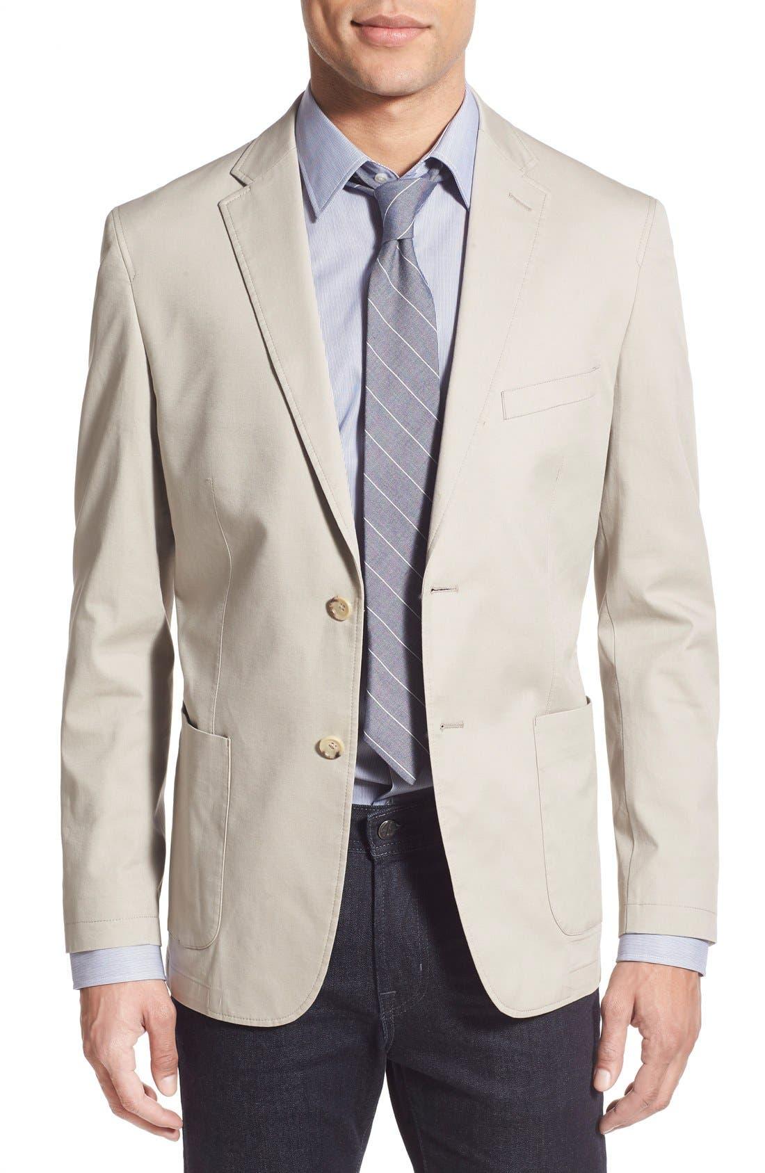 Trim Fit Stretch Cotton Blazer,                             Main thumbnail 1, color,                             Tan