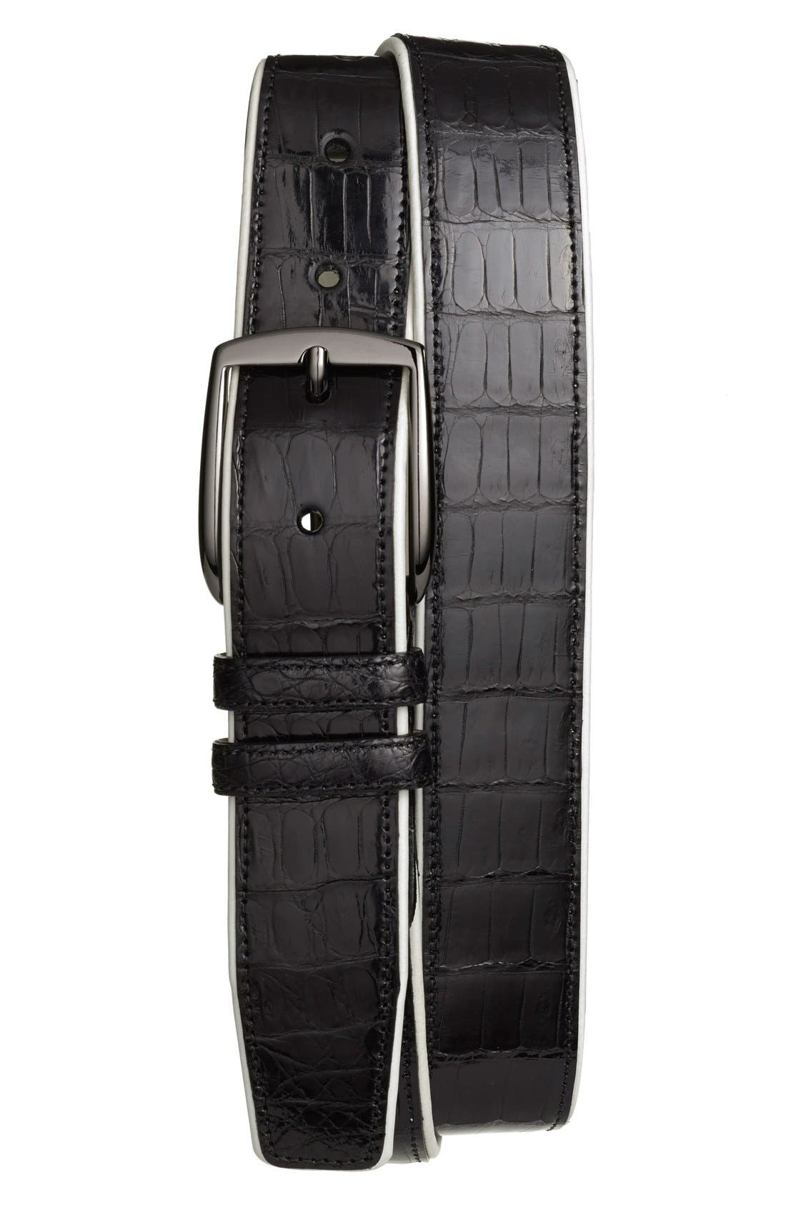 'Saratoga' Genuine Crocodile Leather Belt,                             Main thumbnail 1, color,                             Black