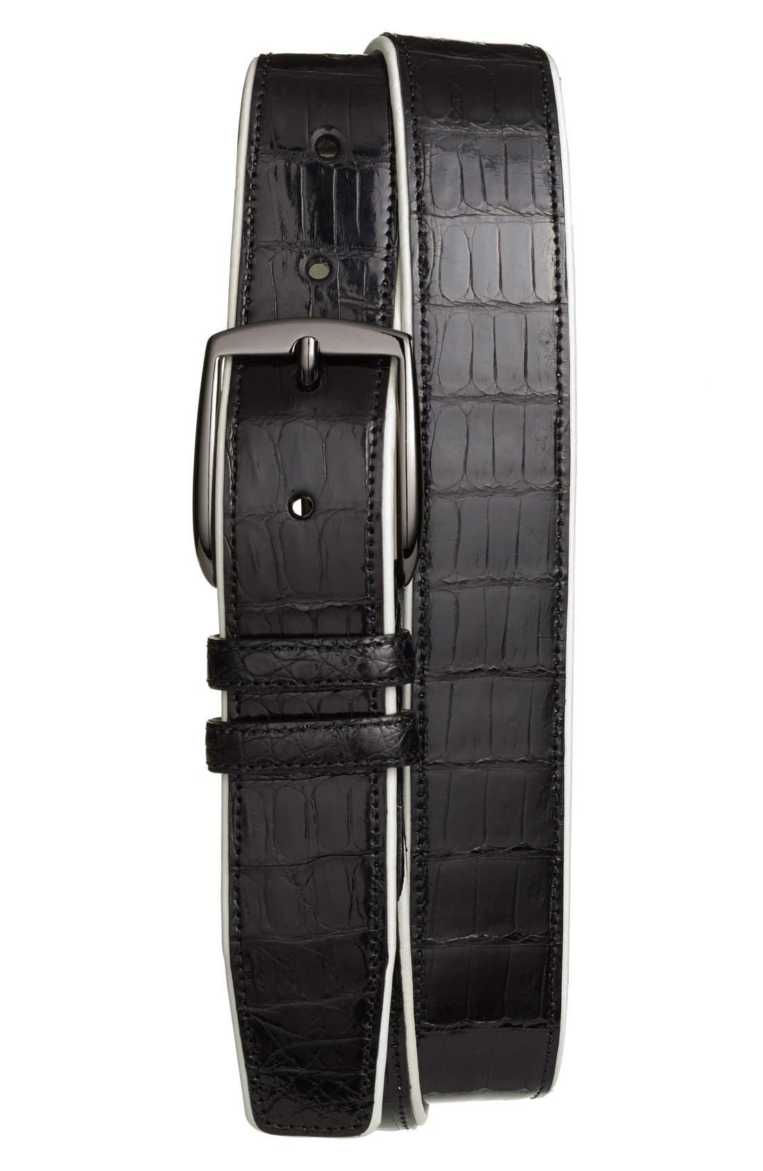 Mezlan 'Saratoga' Genuine Crocodile Leather Belt