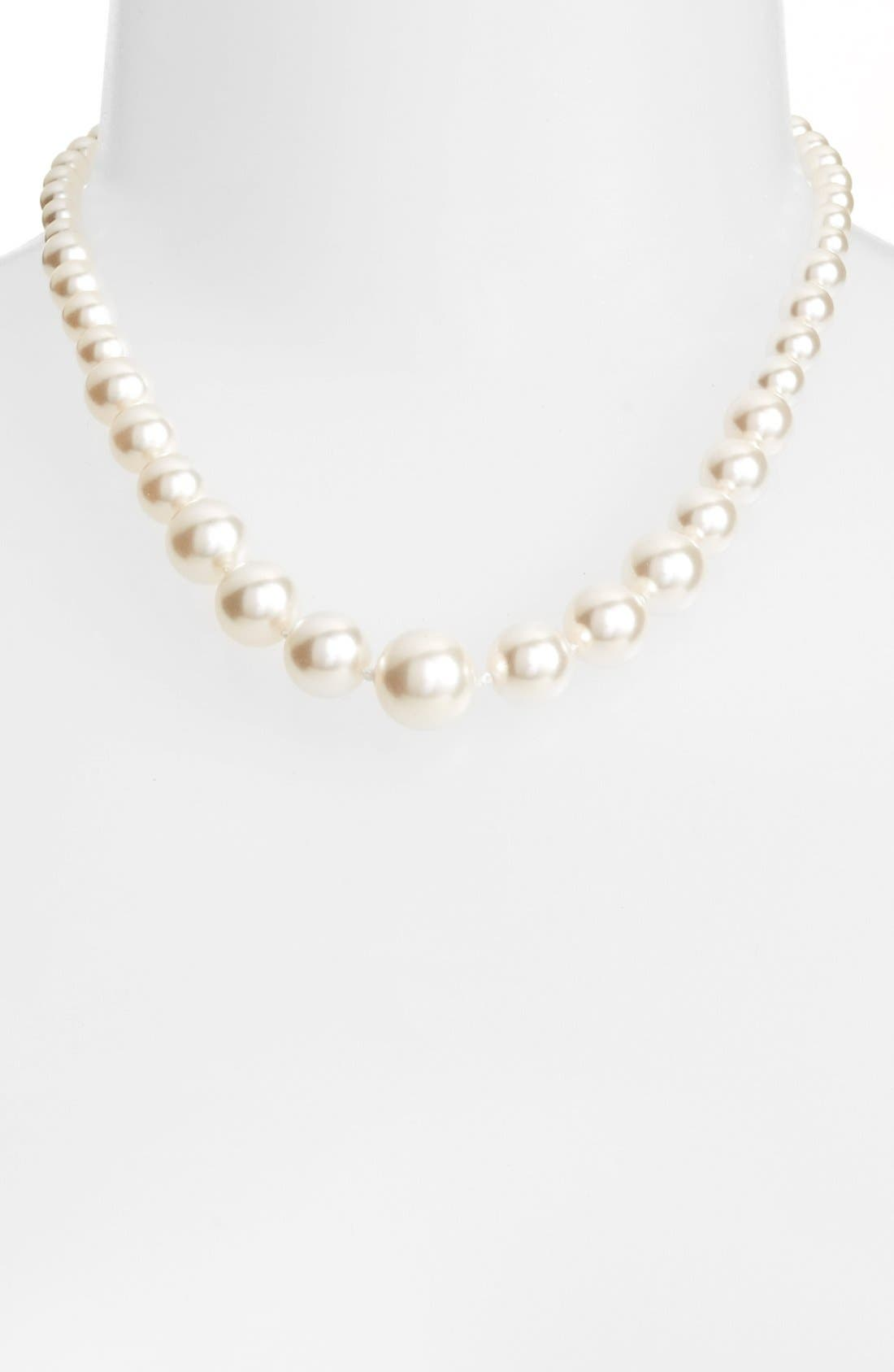 Graduated Imitation Pearl Necklace,                         Main,                         color, Ivory