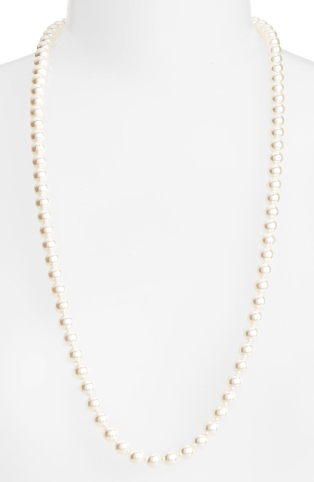 Long Imitation Pearl Necklace,                         Main,                         color, Ivory