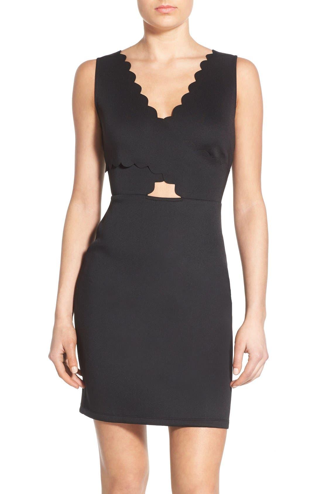 Main Image - Soprano Scalloped Sleeveless Body-Con Dress