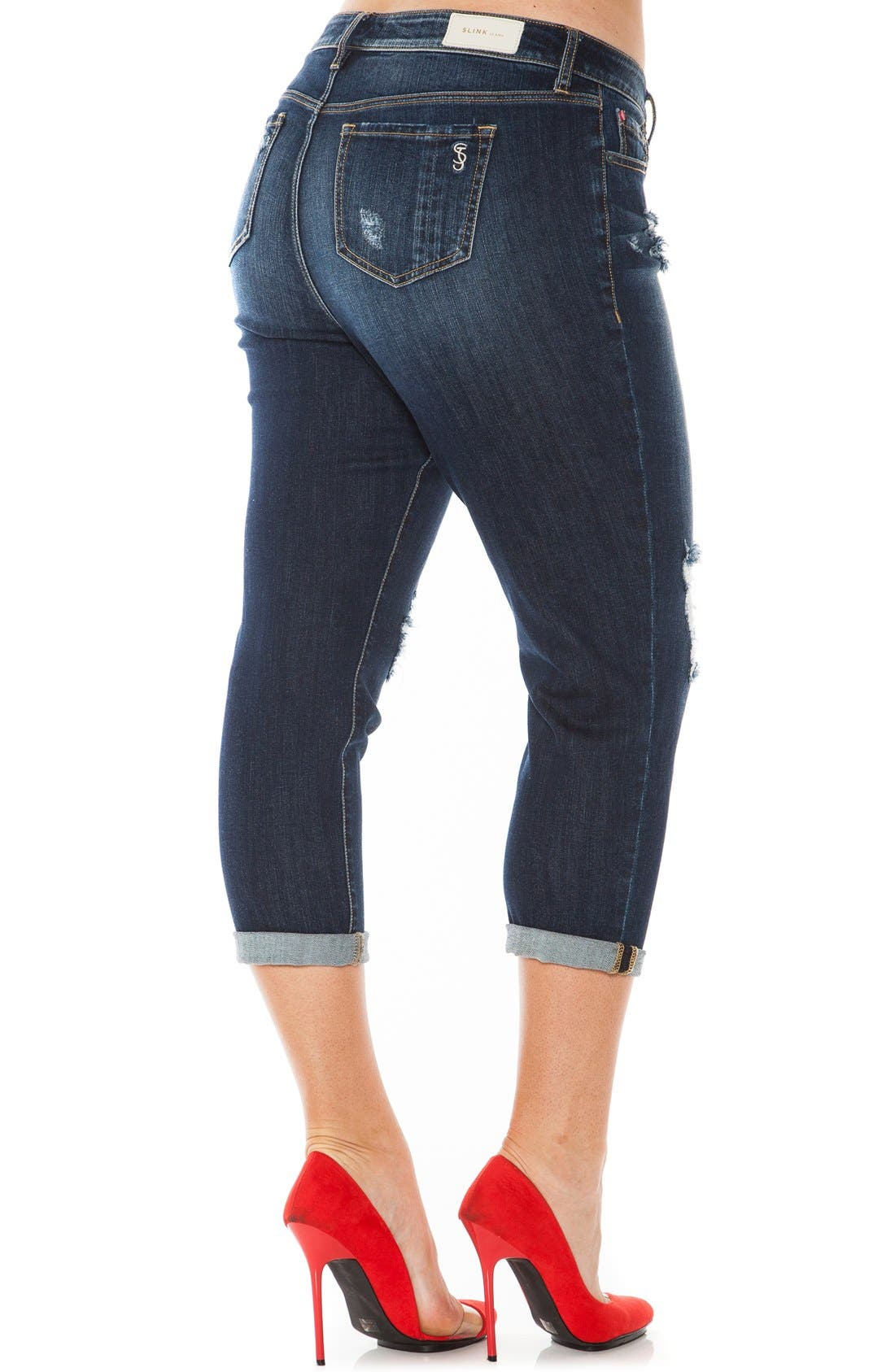 Ripped Roll Cuff Boyfriend Jeans,                             Alternate thumbnail 2, color,                             Hunter