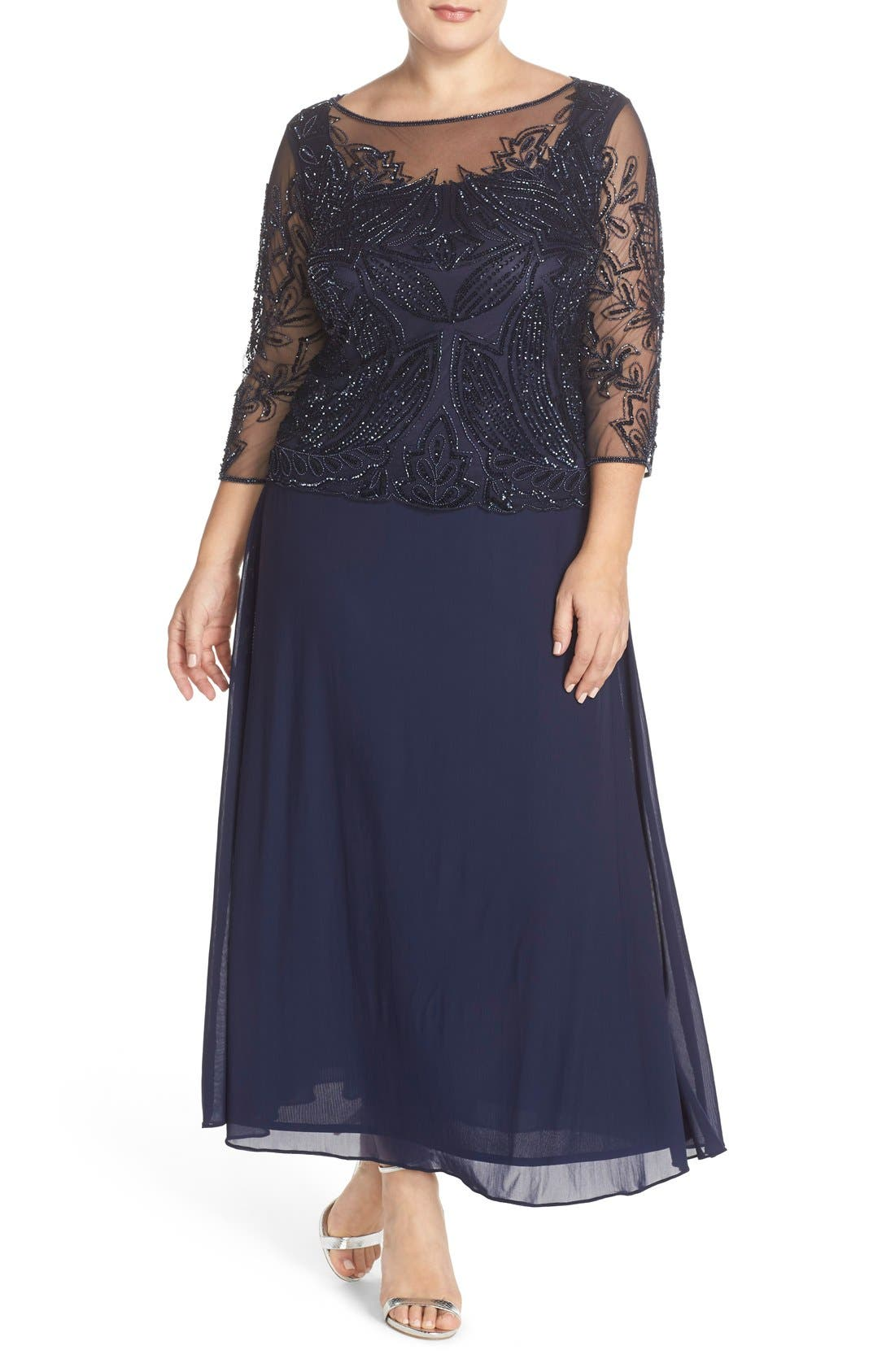 Illusion Neck Beaded A-Line Gown,                             Main thumbnail 1, color,                             Navy