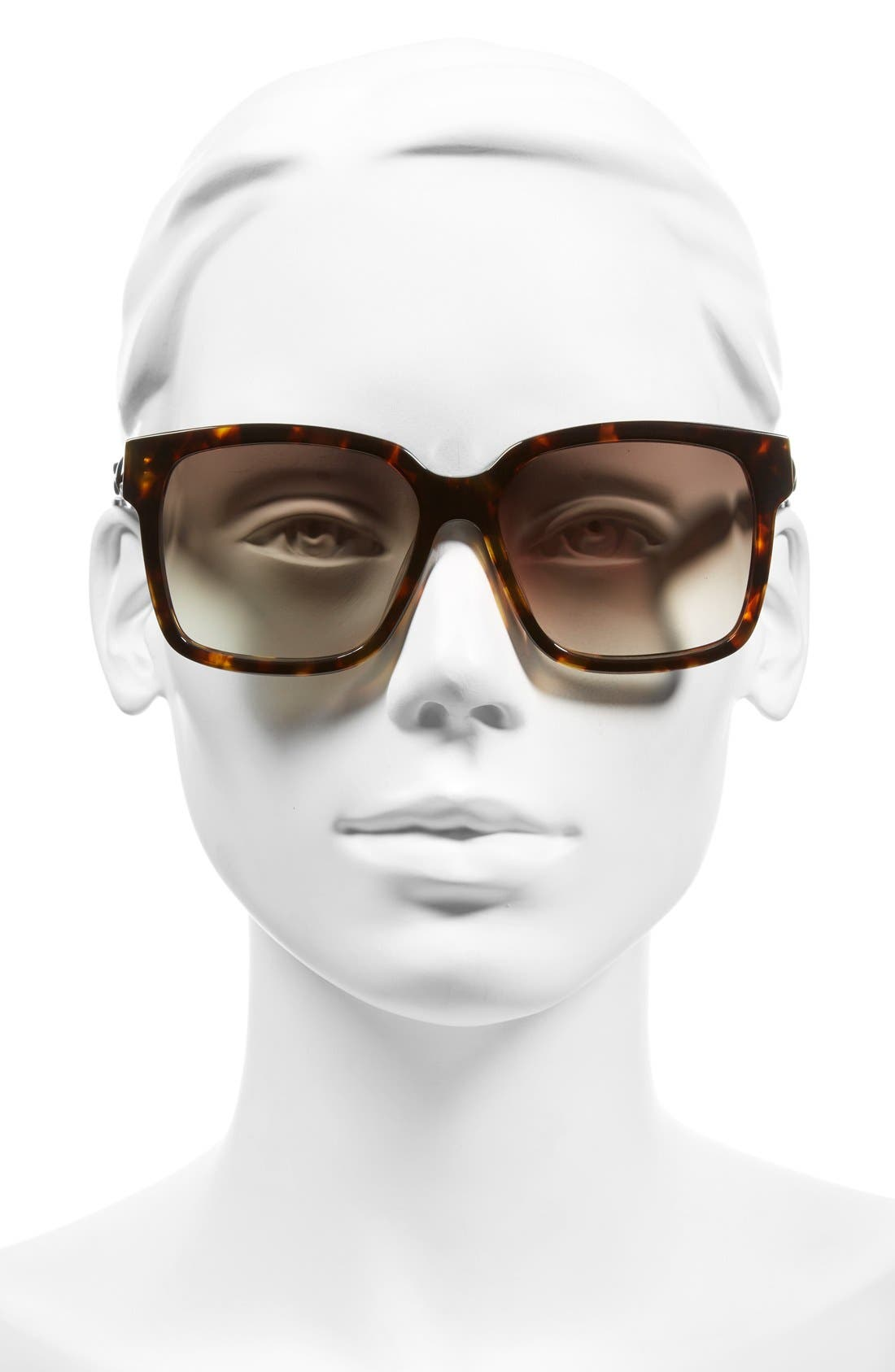 Paris 'BA0053' 55mm Cat Eye Sunglasses,                             Alternate thumbnail 2, color,                             Dark Havana/ Gradient Green