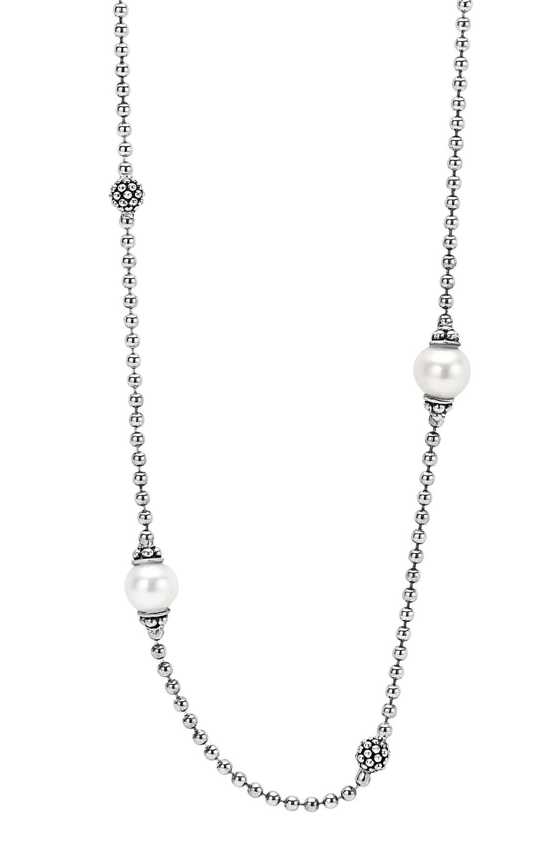 'Luna' Pearl Station Necklace,                             Alternate thumbnail 2, color,                             Silver/ Pearl