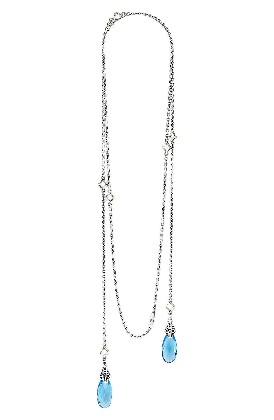 'Caviar Color' Semiprecious Stone Lariat Necklace,                         Main,                         color, Blue Topaz