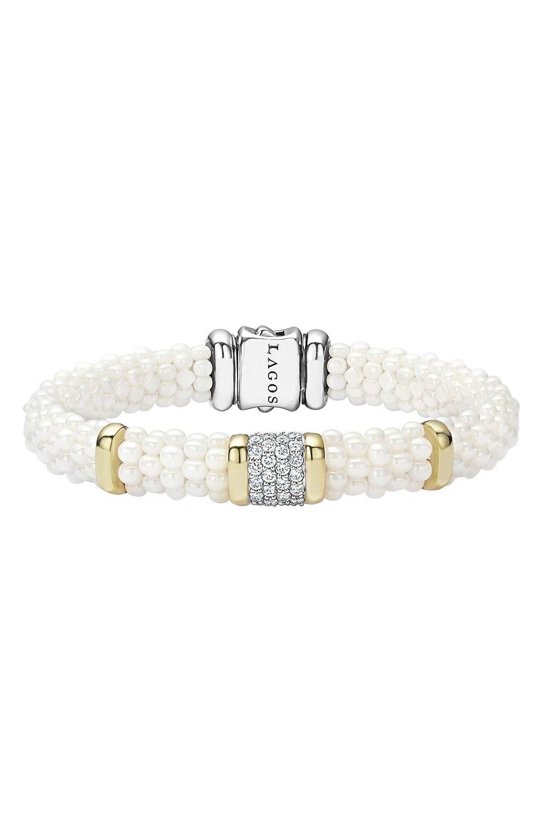 'White Caviar' Diamond Rope Bracelet,                             Main thumbnail 1, color,                             White Caviar