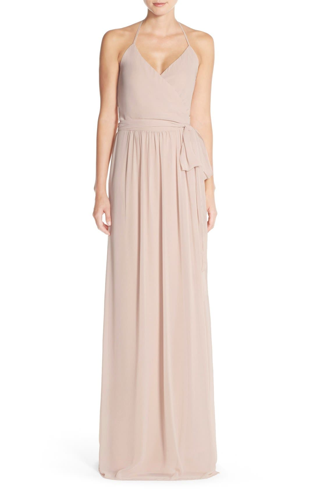 Ceremony by Joanna August 'DC' Halter Wrap Chiffon Gown