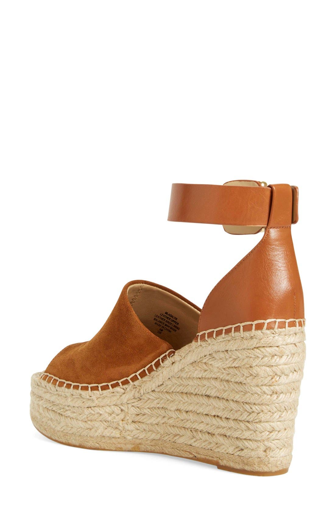 'Adalyn' Espadrille Wedge Sandal,                             Alternate thumbnail 2, color,                             Tan/ Saddle