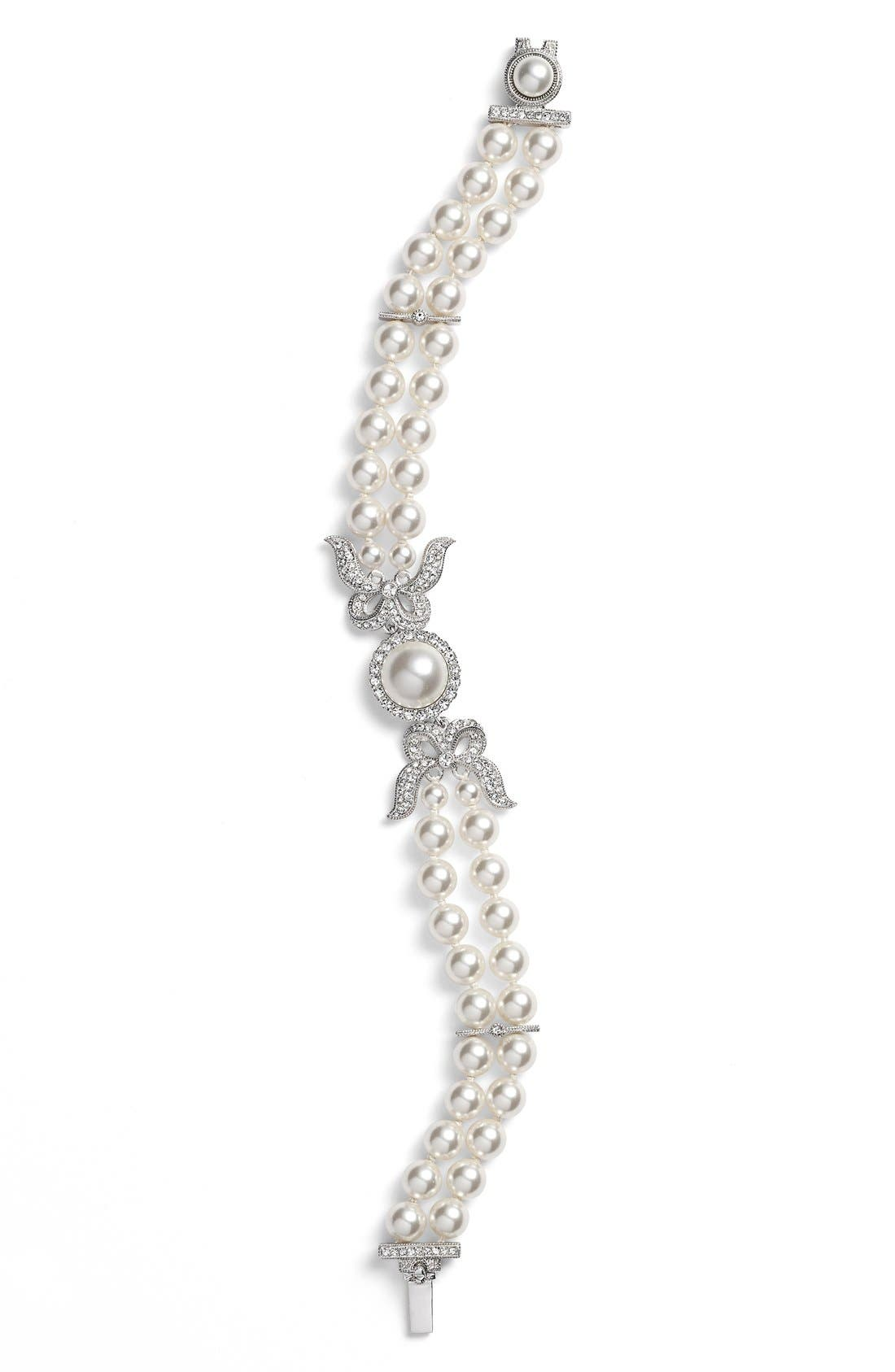 Two Row Imitation Pearl & Crystal Bracelet,                         Main,                         color, Ivory