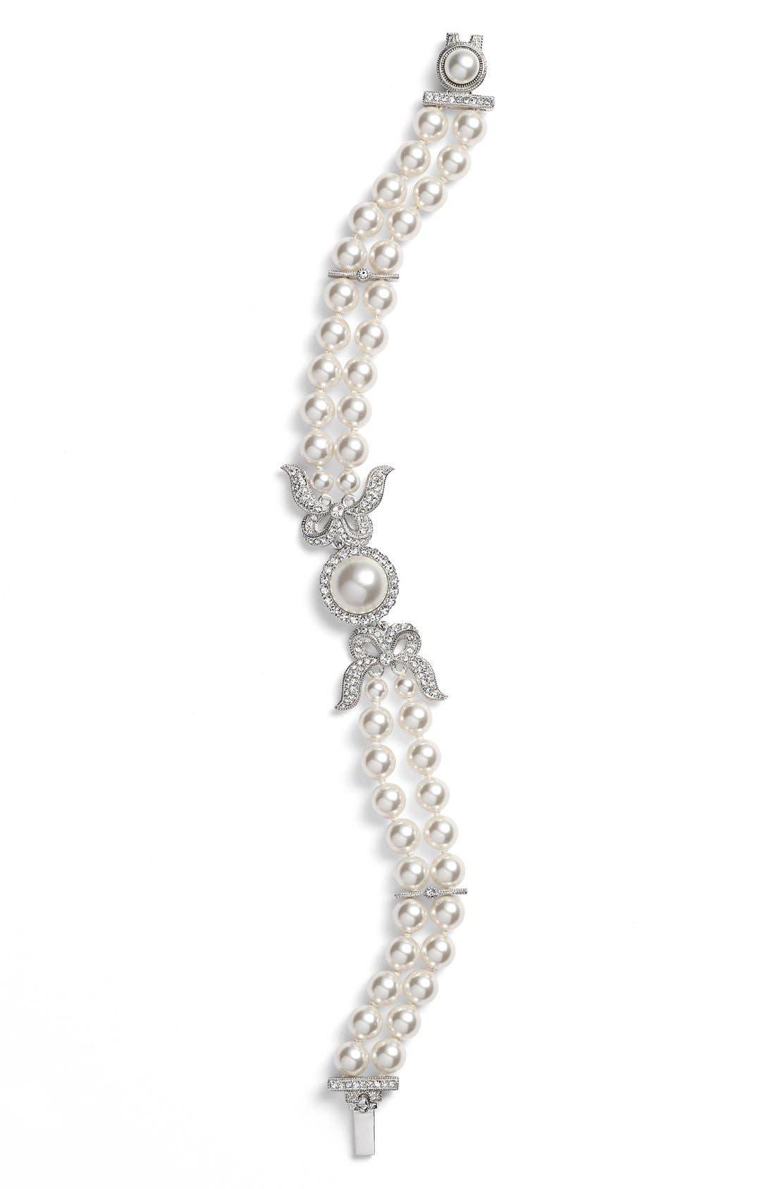 Nadri Two Row Imitation Pearl & Crystal Bracelet