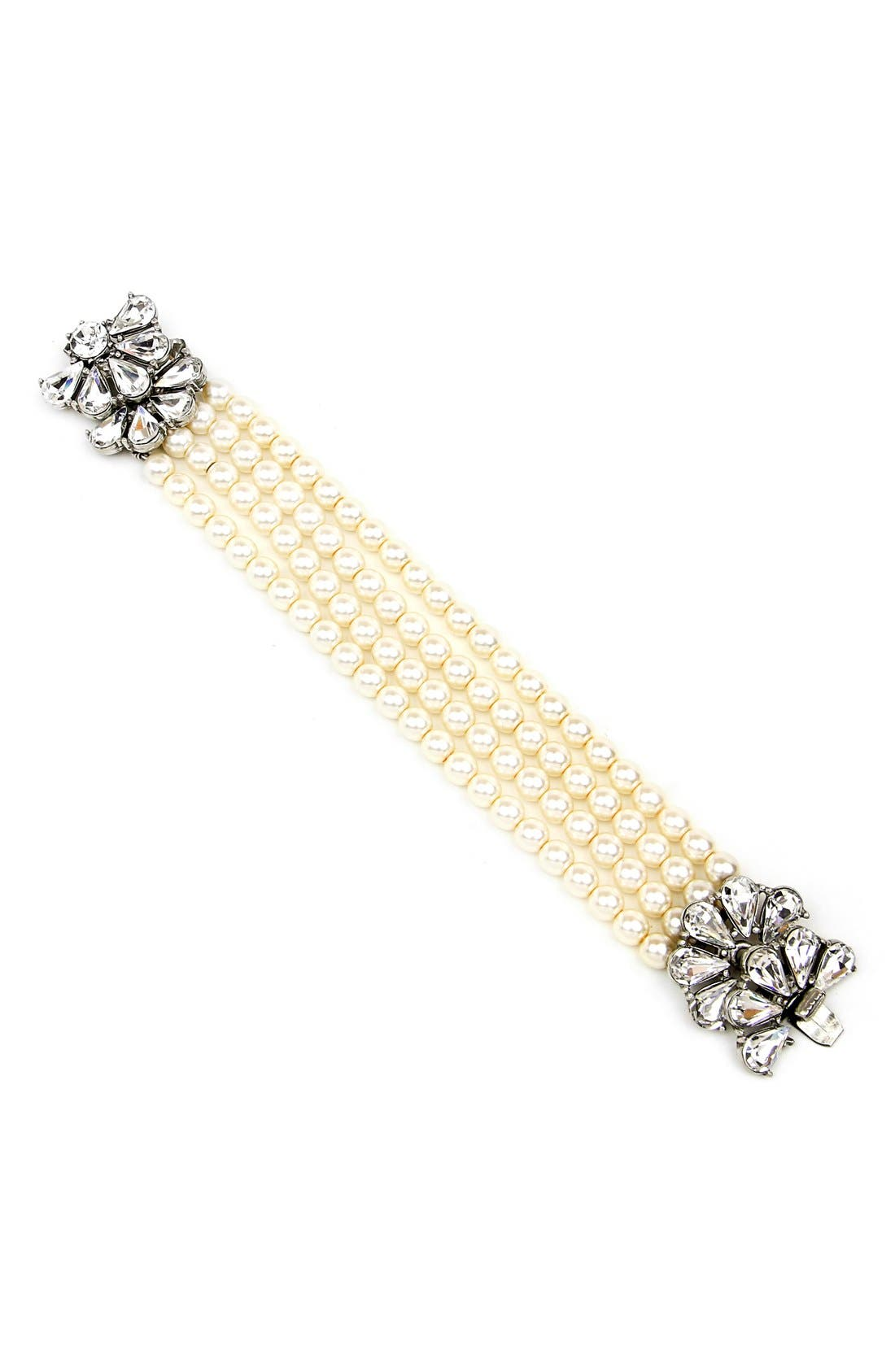 Crystal & Faux Pearl Strand Bracelet,                         Main,                         color, Ivory