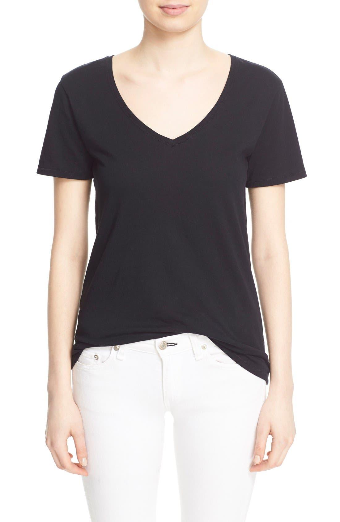 'Base' Cotton V-Neck Tee,                         Main,                         color, Black