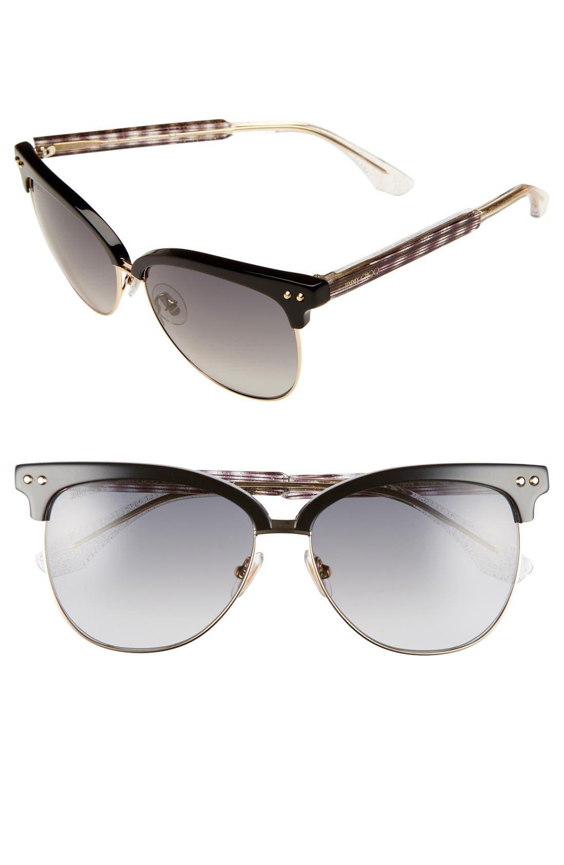 'Aryaya' 57mm Retro Sunglasses,                         Main,                         color, Black