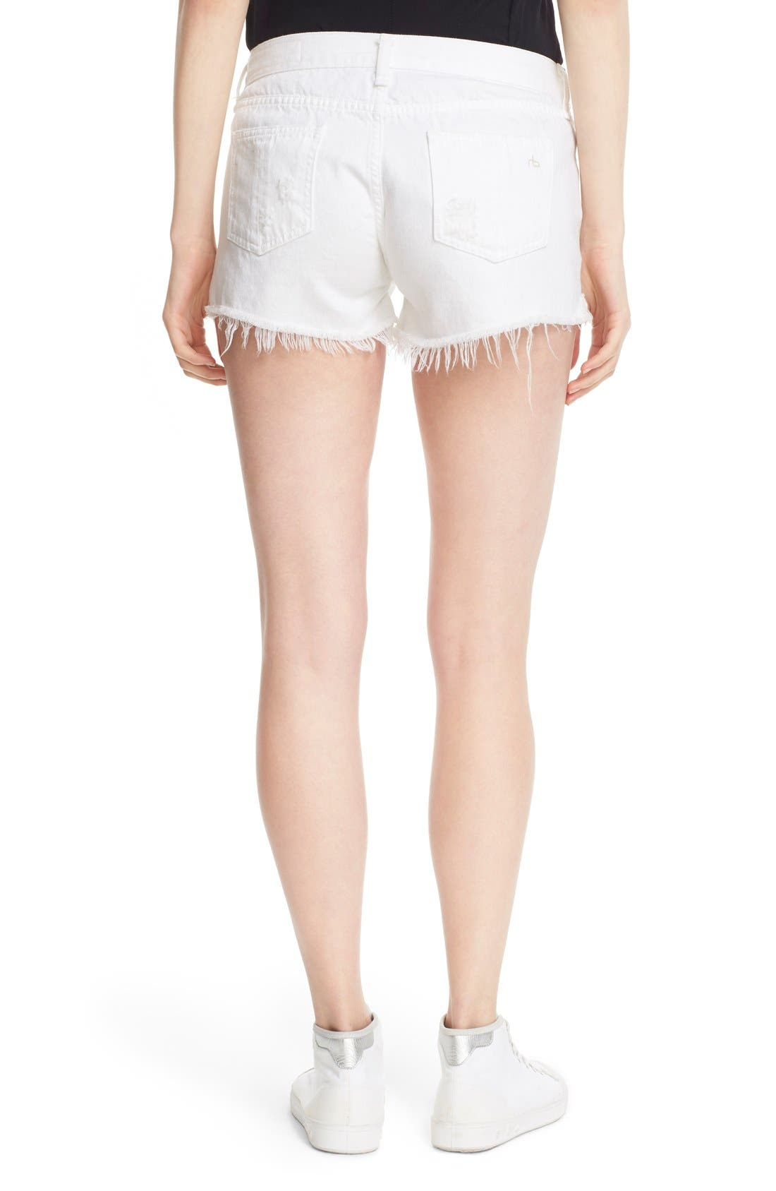 Ripped Cutoff Denim Shorts,                             Alternate thumbnail 2, color,                             White Marin