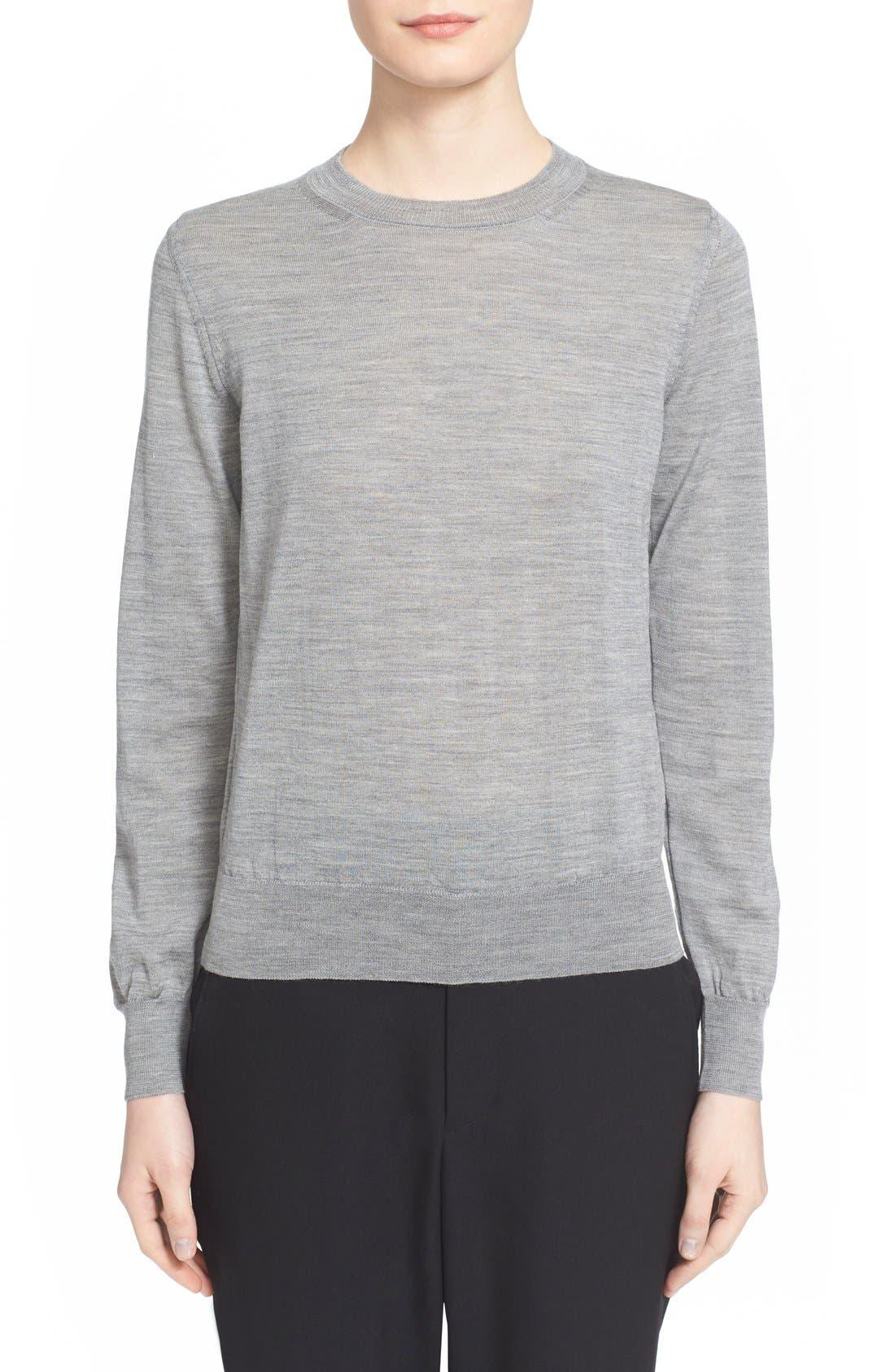 Crewneck Wool Pullover,                         Main,                         color, Grey