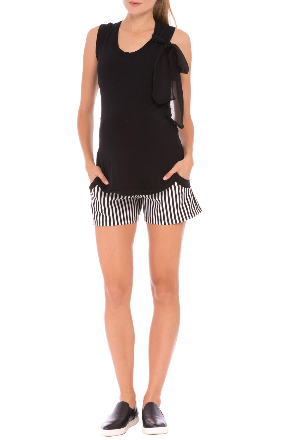 'Megan' Stripe Maternity Shorts,                             Main thumbnail 1, color,                             Black