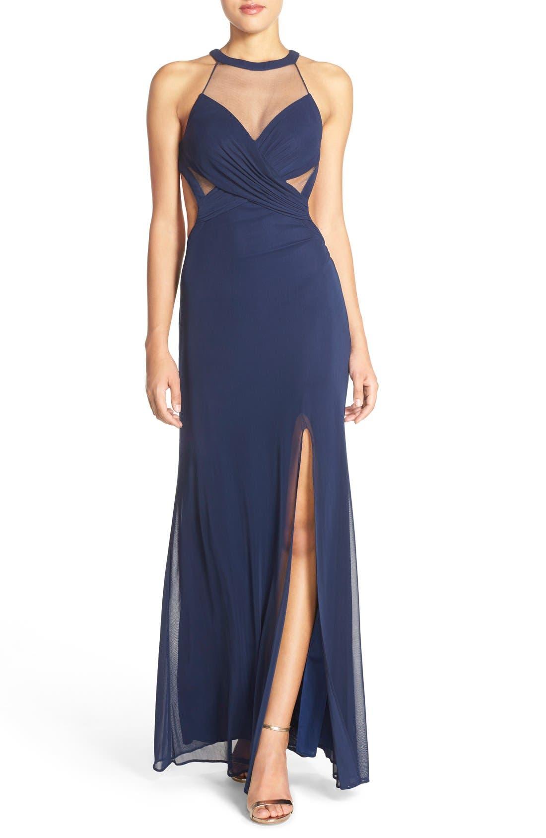 Alternate Image 1 Selected - Abbi Von Cutout Net Jersey Gown
