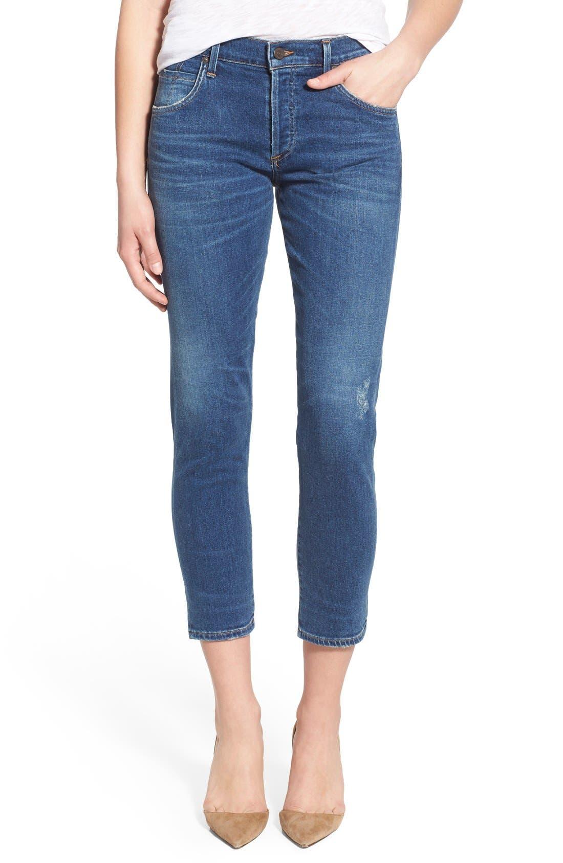 'Elsa' Crop Slim Jeans,                             Main thumbnail 1, color,                             Taos