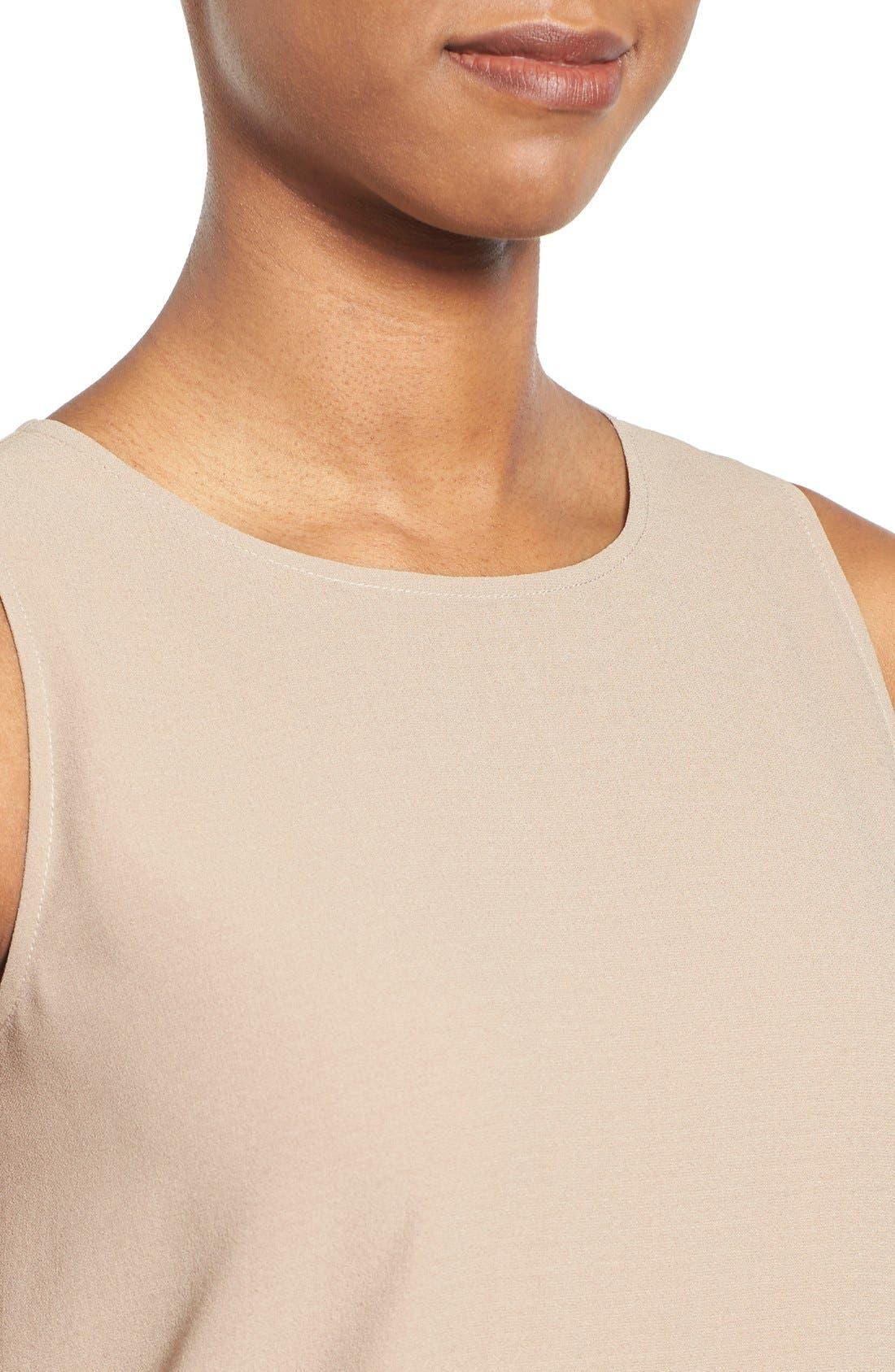 Alternate Image 4  - Eileen Fisher Silk Round Neck Shell (Regular & Petite)