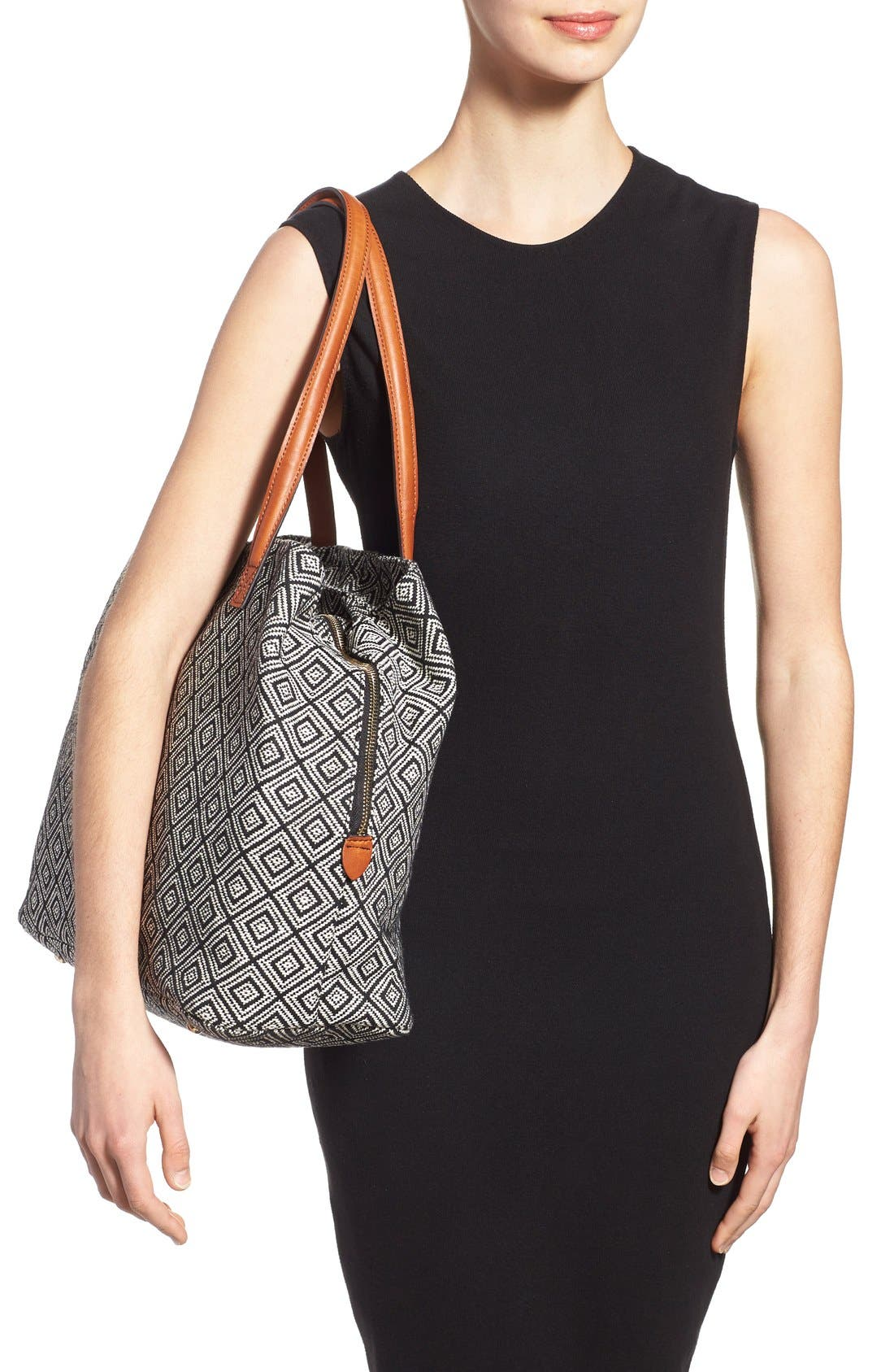 'Oversize Millie' Tote,                             Alternate thumbnail 2, color,                             Black White Geo