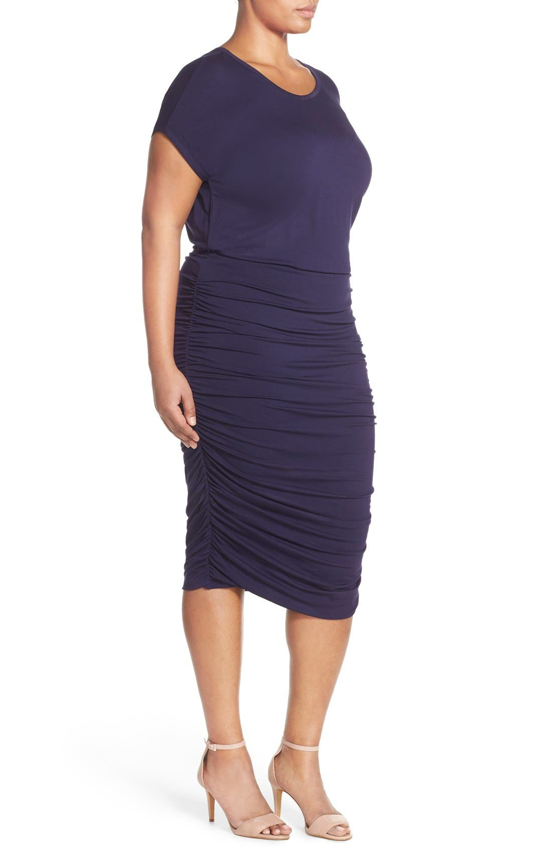 Side Ruched Jersey Midi Dress,                             Alternate thumbnail 3, color,                             Evening Navy